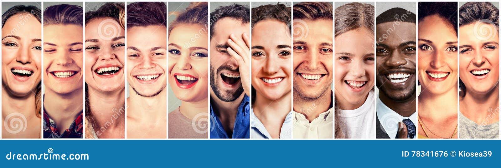 Gens riants Hommes heureux de groupe, femmes, enfants