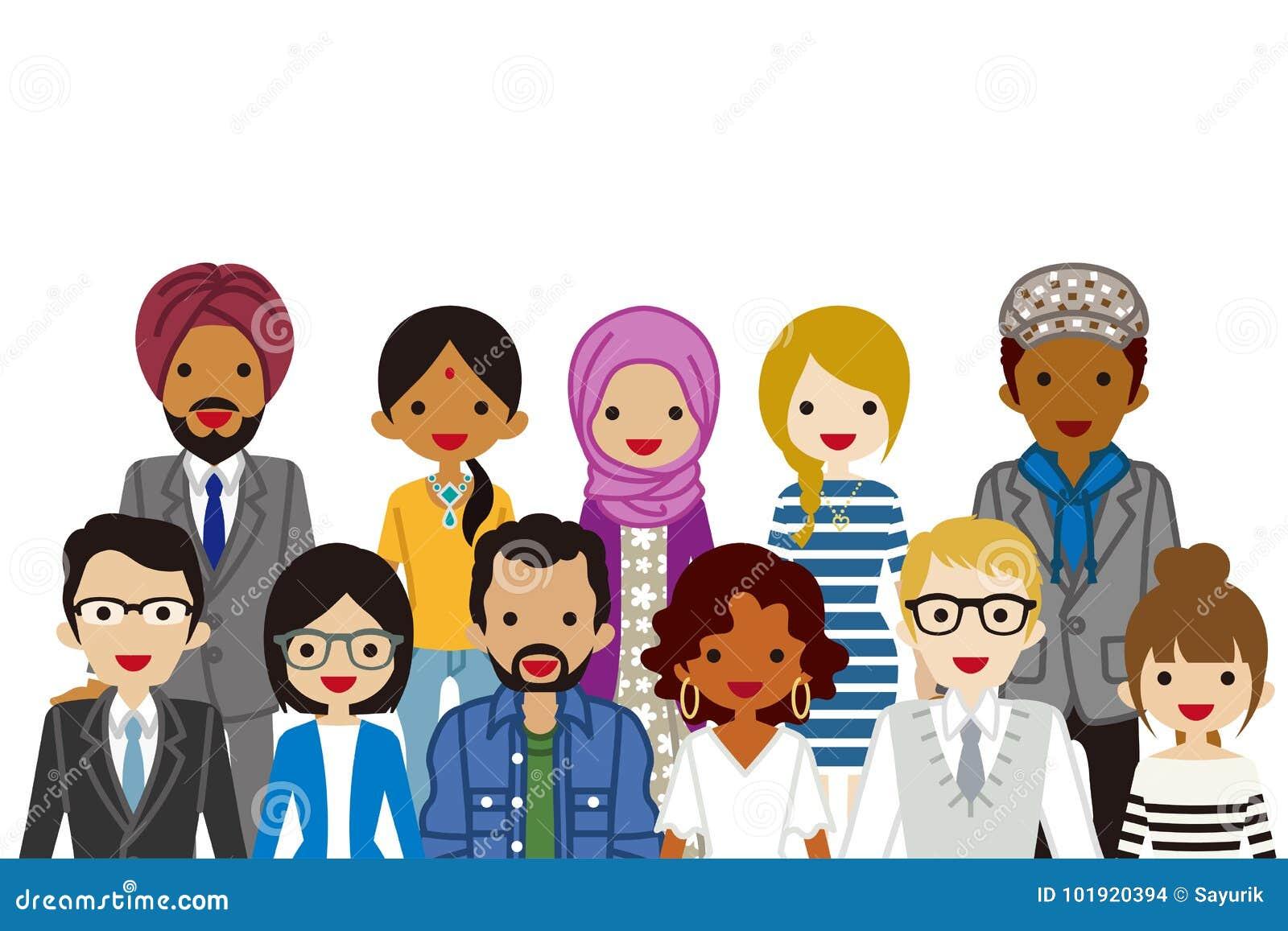 Gente étnica multi de junta, cintura para arriba