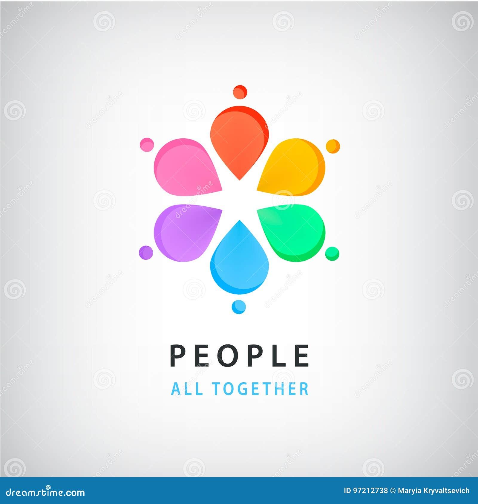 Gente Abstracta Del Vector En Logotipo Del Círculo El Concepto ...