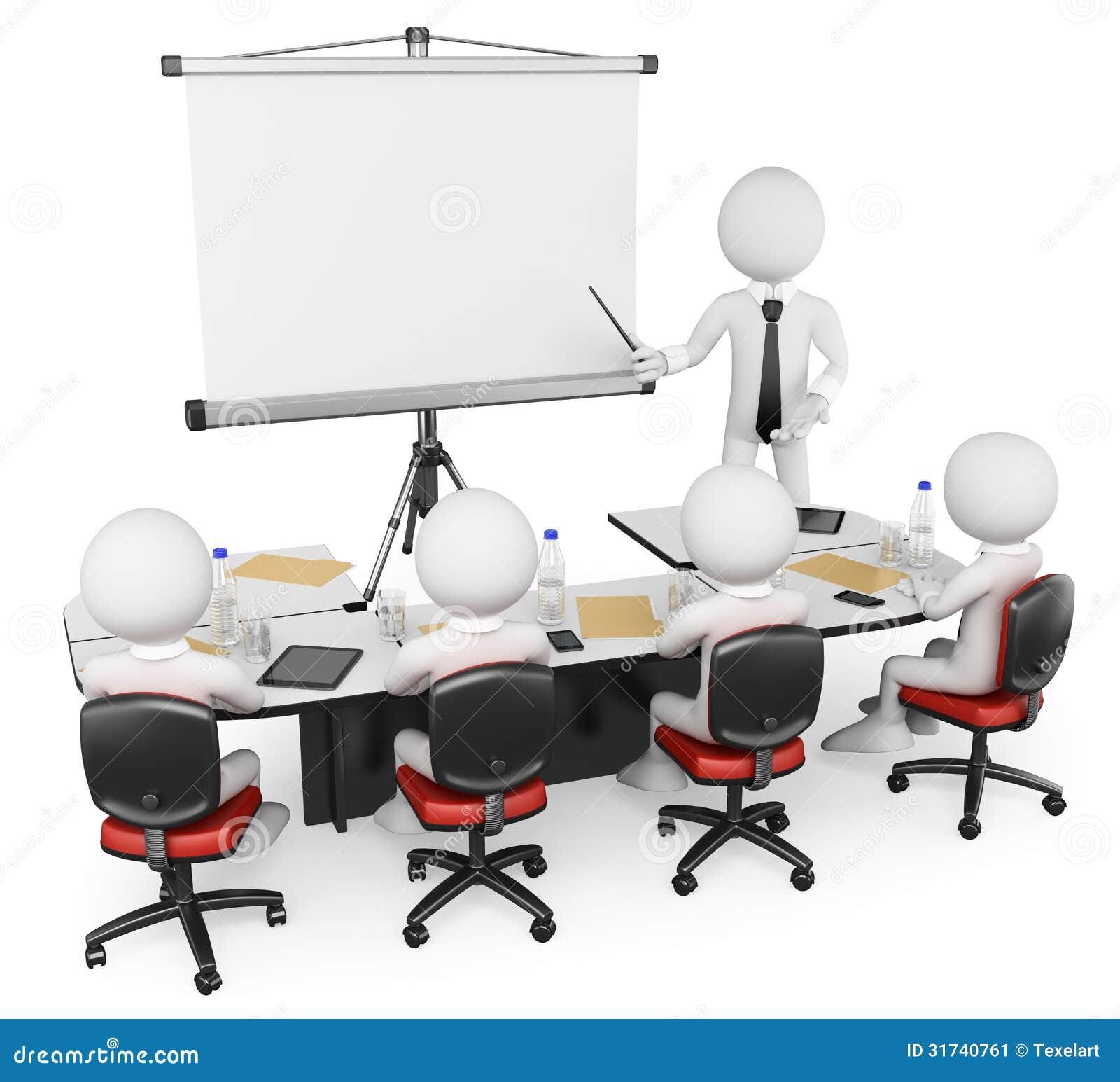 Gente bianca 3D. Gruppo di lavoro di affari