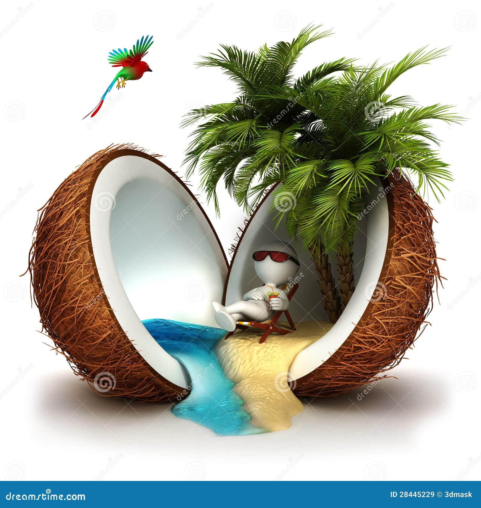 Gente blanca 3d en un paraíso del coco
