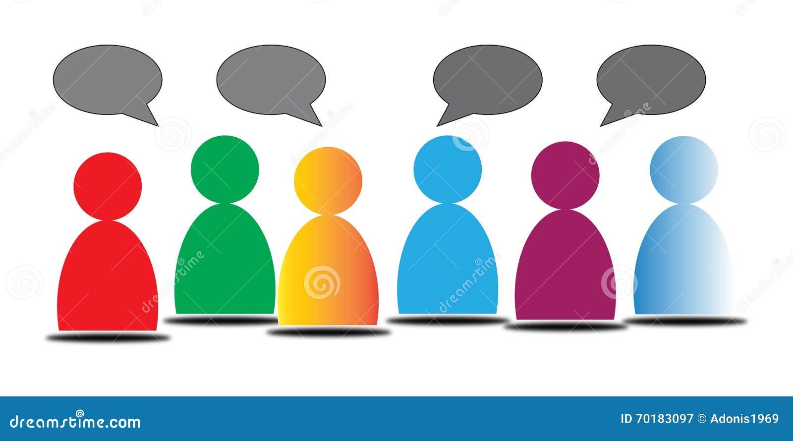 Gente colorida con las burbujas de la conversación
