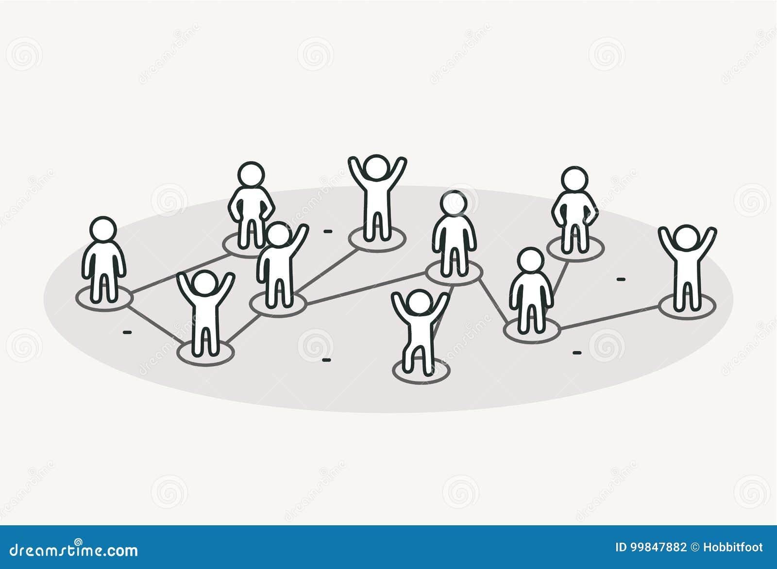 Gente de conexión Concepto social de la red