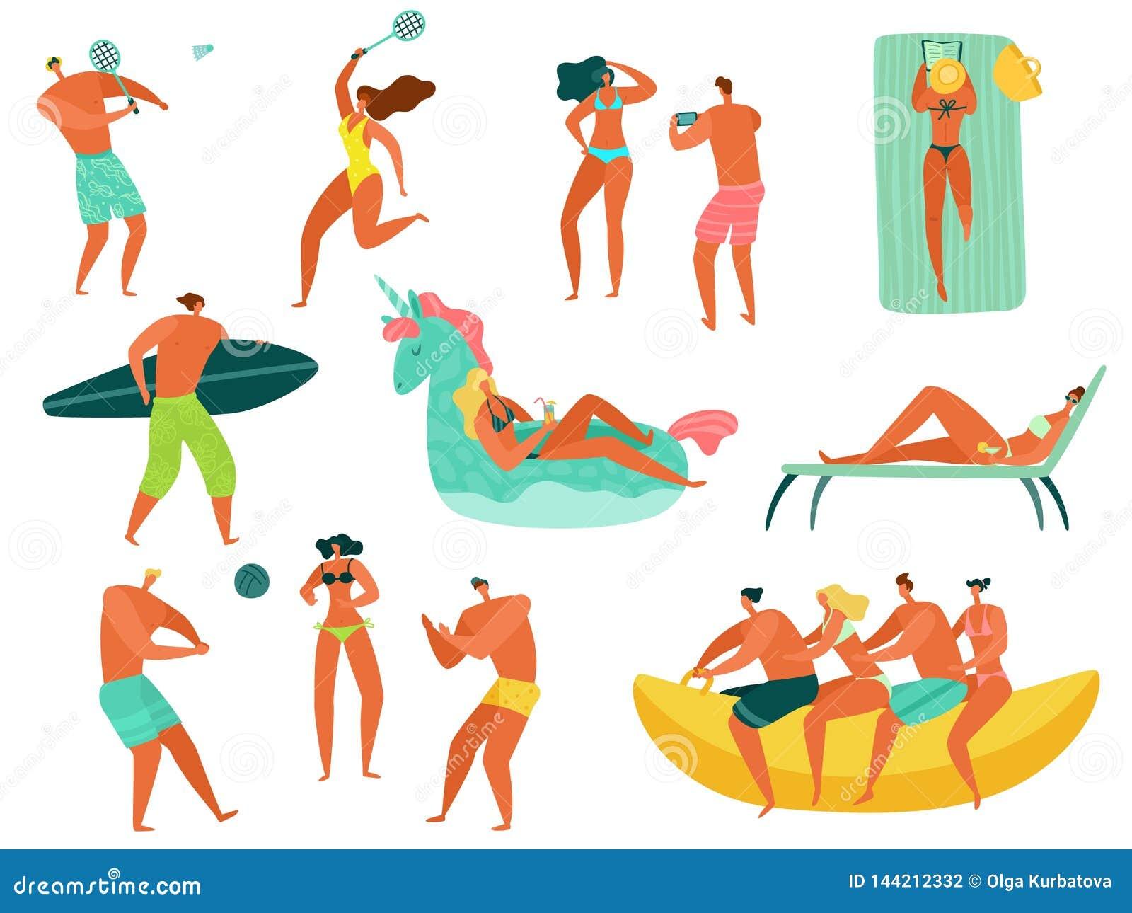 Gente de la playa La familia del océano del mar de las vacaciones de verano se relaja jugando a la gente de los deportes que nada