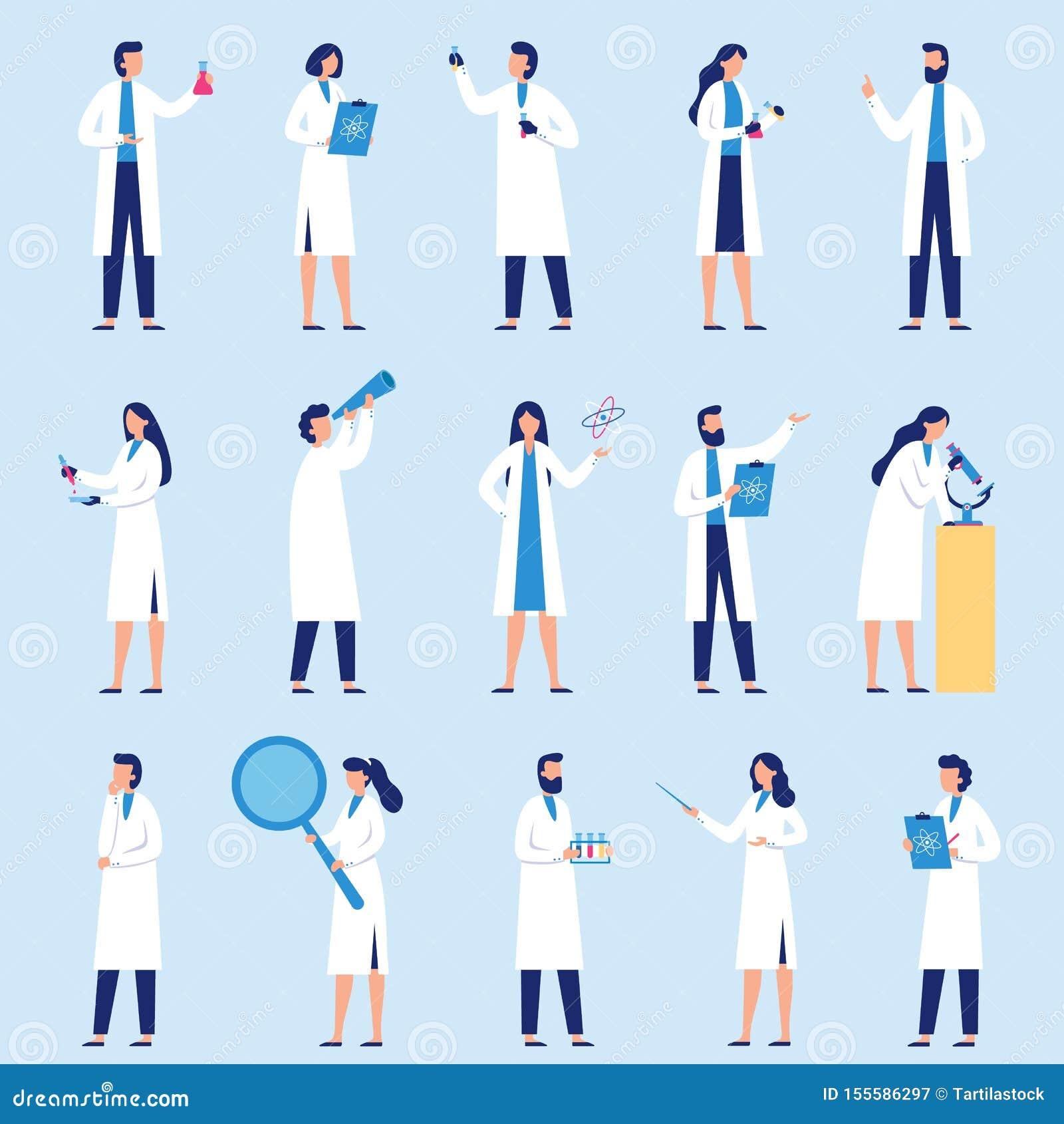 Gente de los científicos El técnico de laboratorio de ciencia, los investigadores químicos y el vector plano del carácter del pro