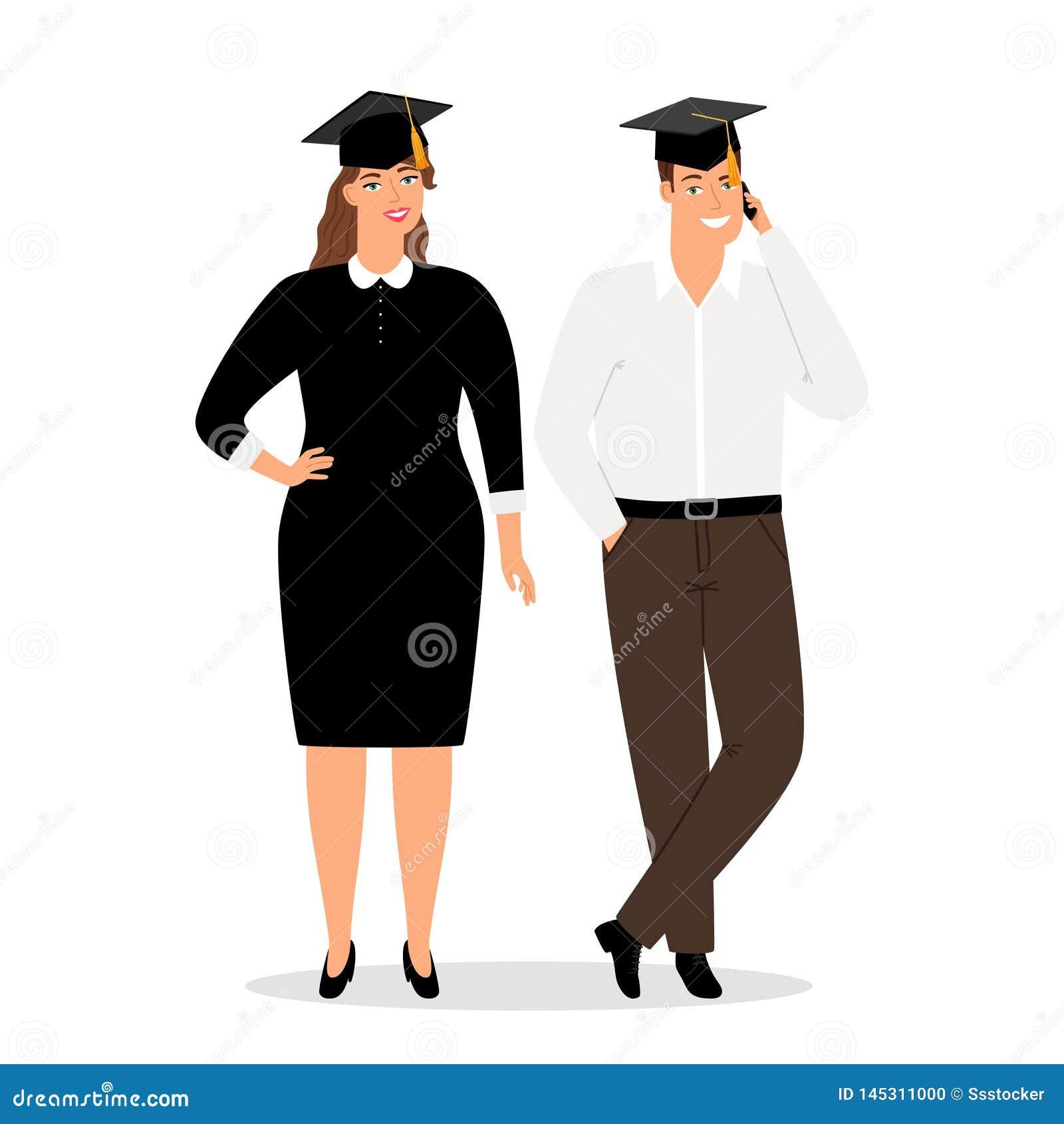 Gente de los graduados en el ejemplo oficial del vector de la ropa