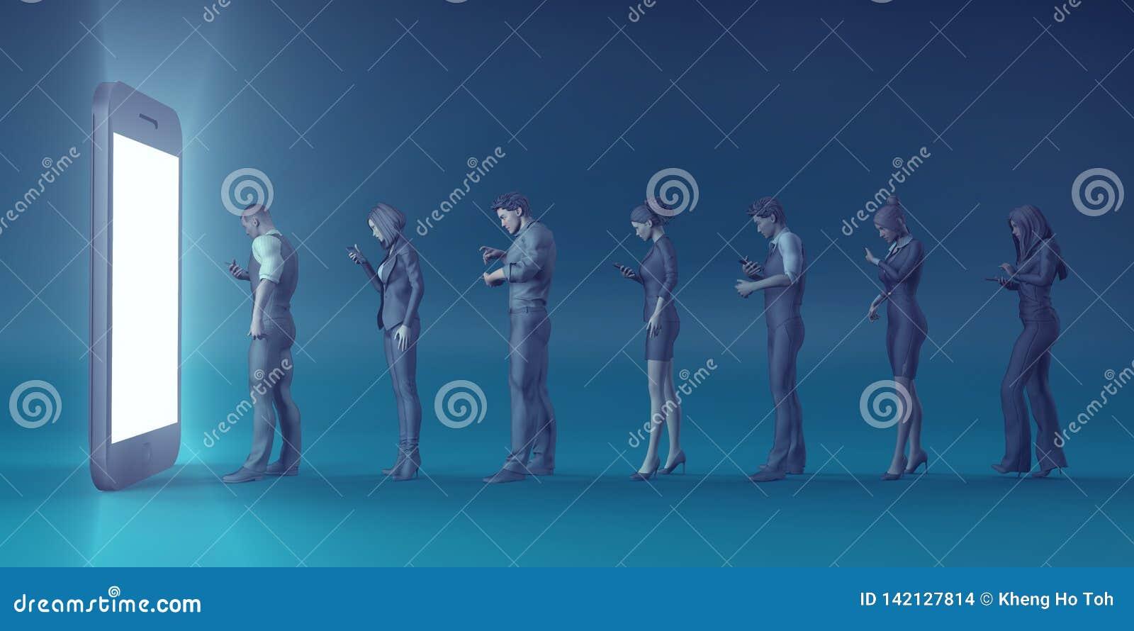 Gente de torneado de Smartphone de la tecnología en zombis