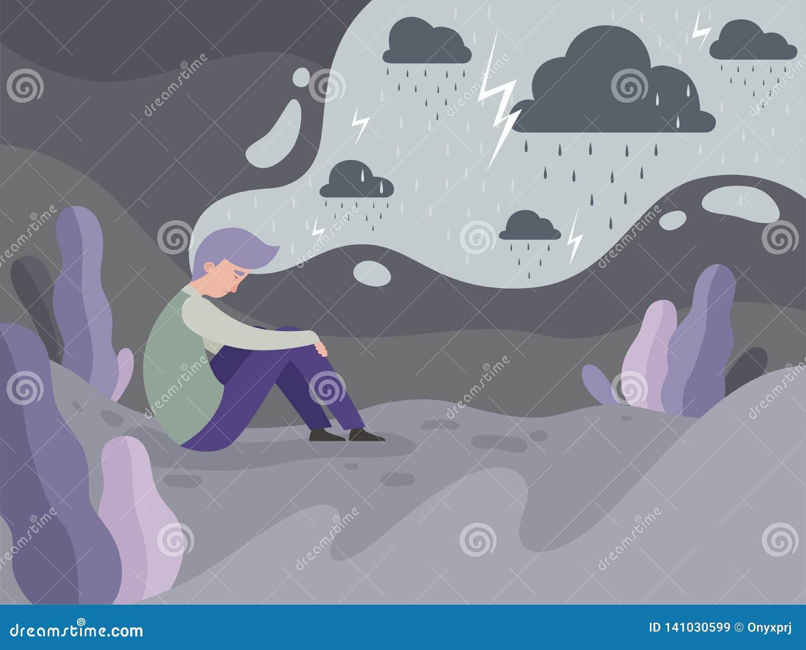 Gente deprimida Soledad solamente en el fondo lluvioso del concepto del vector del tiempo del hombre cansado de la ciudad