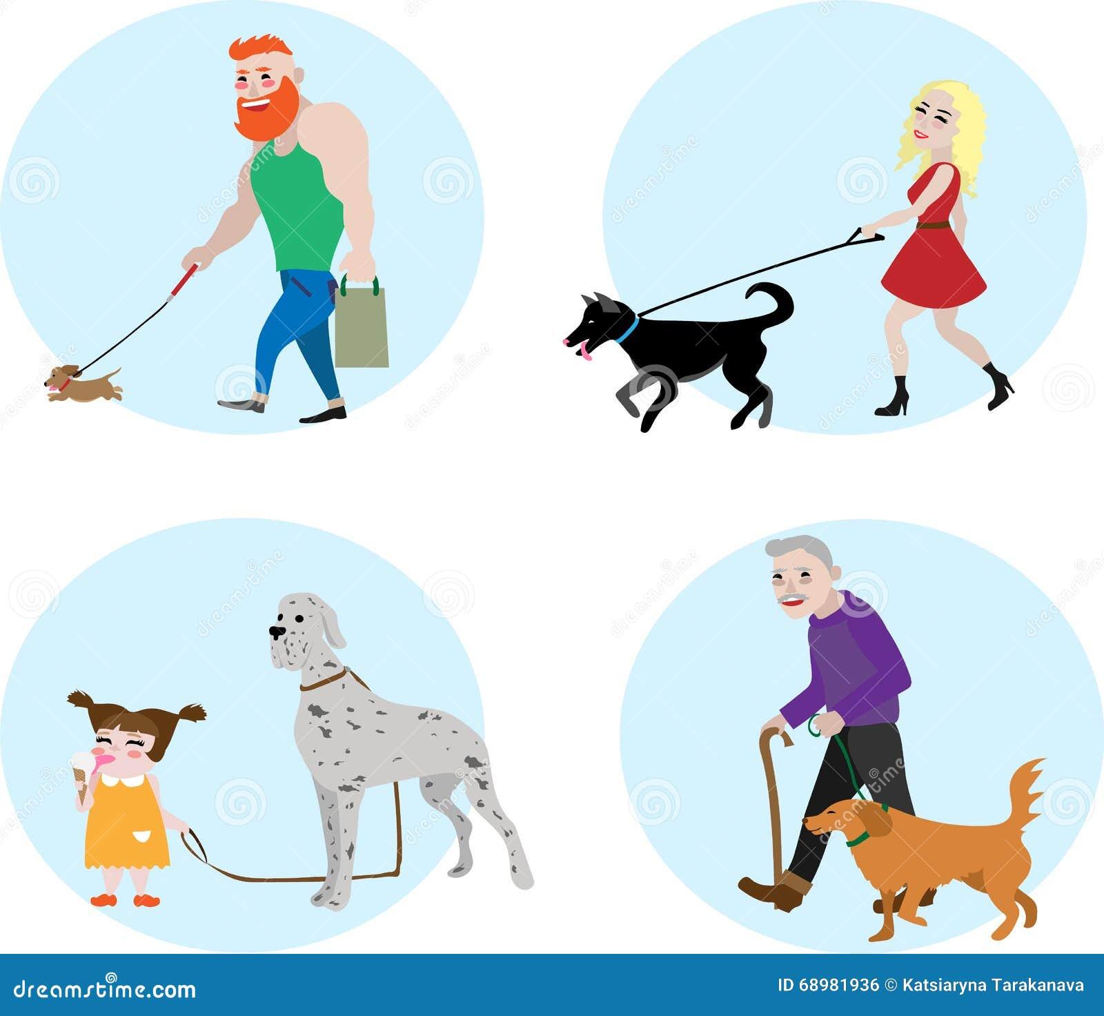 Gente determinada del vector del dueño del perro