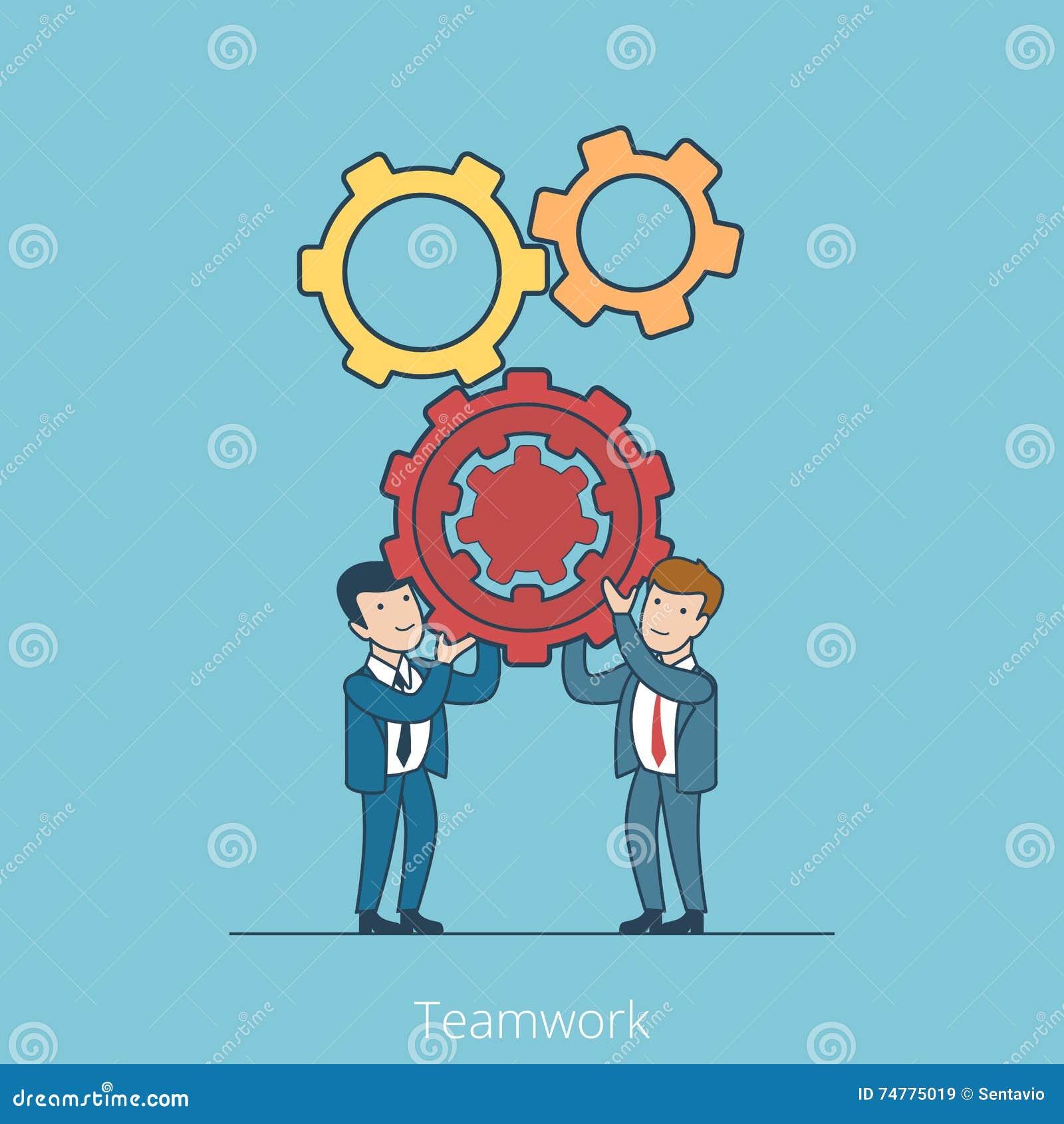 Gente di affari piana lineare di lavoro di squadra che tiene gearw