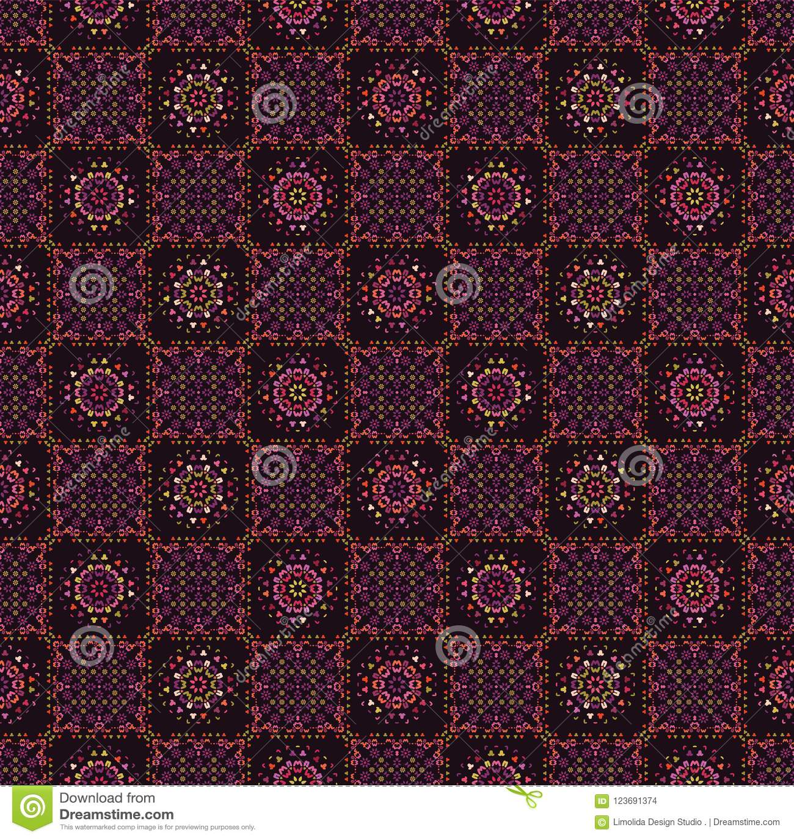 Gente e fiore del modello delle mattonelle della rappezzatura della trapunta
