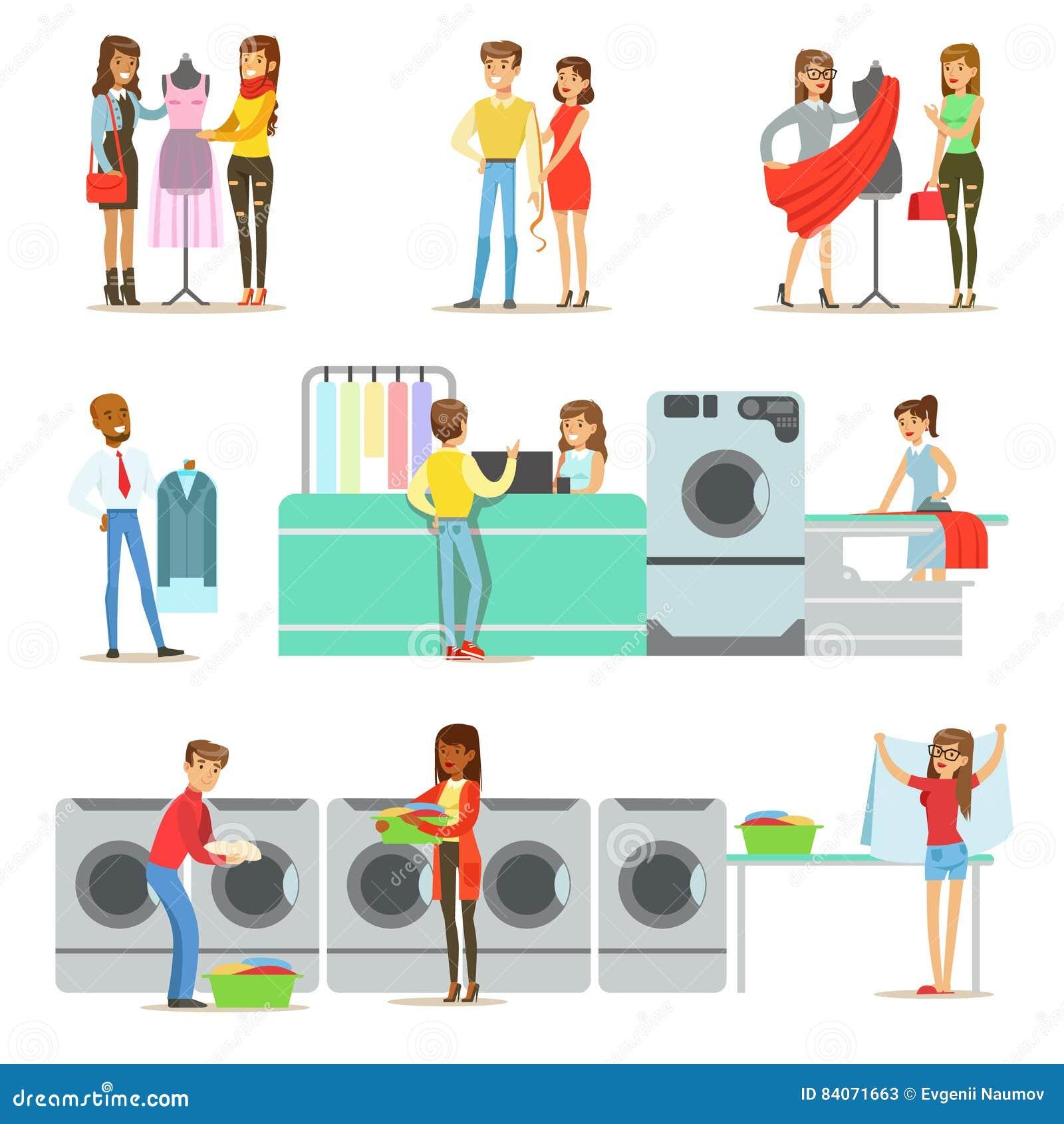 Gente en el lavadero, la limpieza en seco y el sistema del servicio de la adaptación de personajes de dibujos animados sonrientes