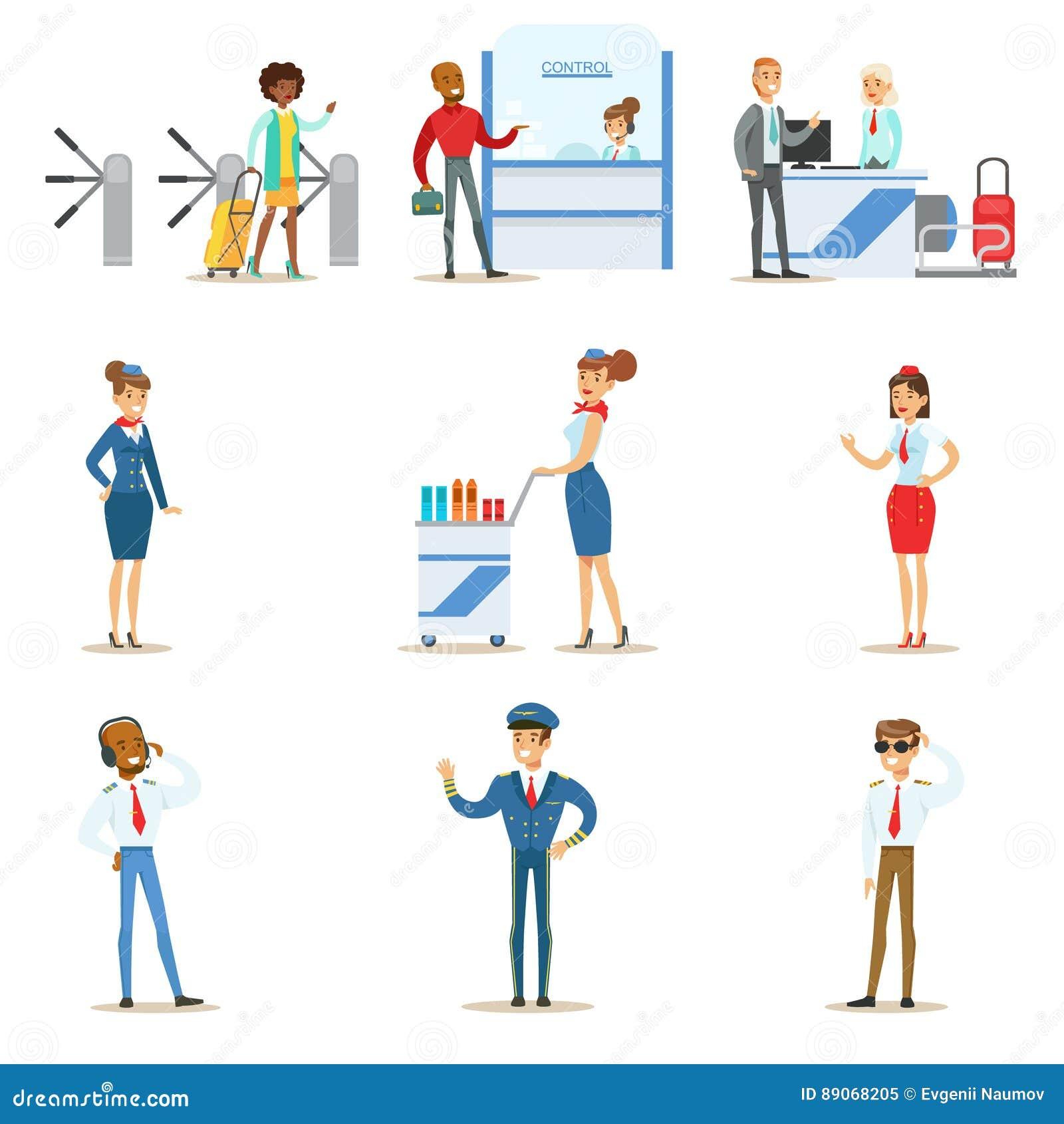 Gente en el paso interior del aeropuerto con el registro del vuelo y el control de pasaportes, y servicio aéreo