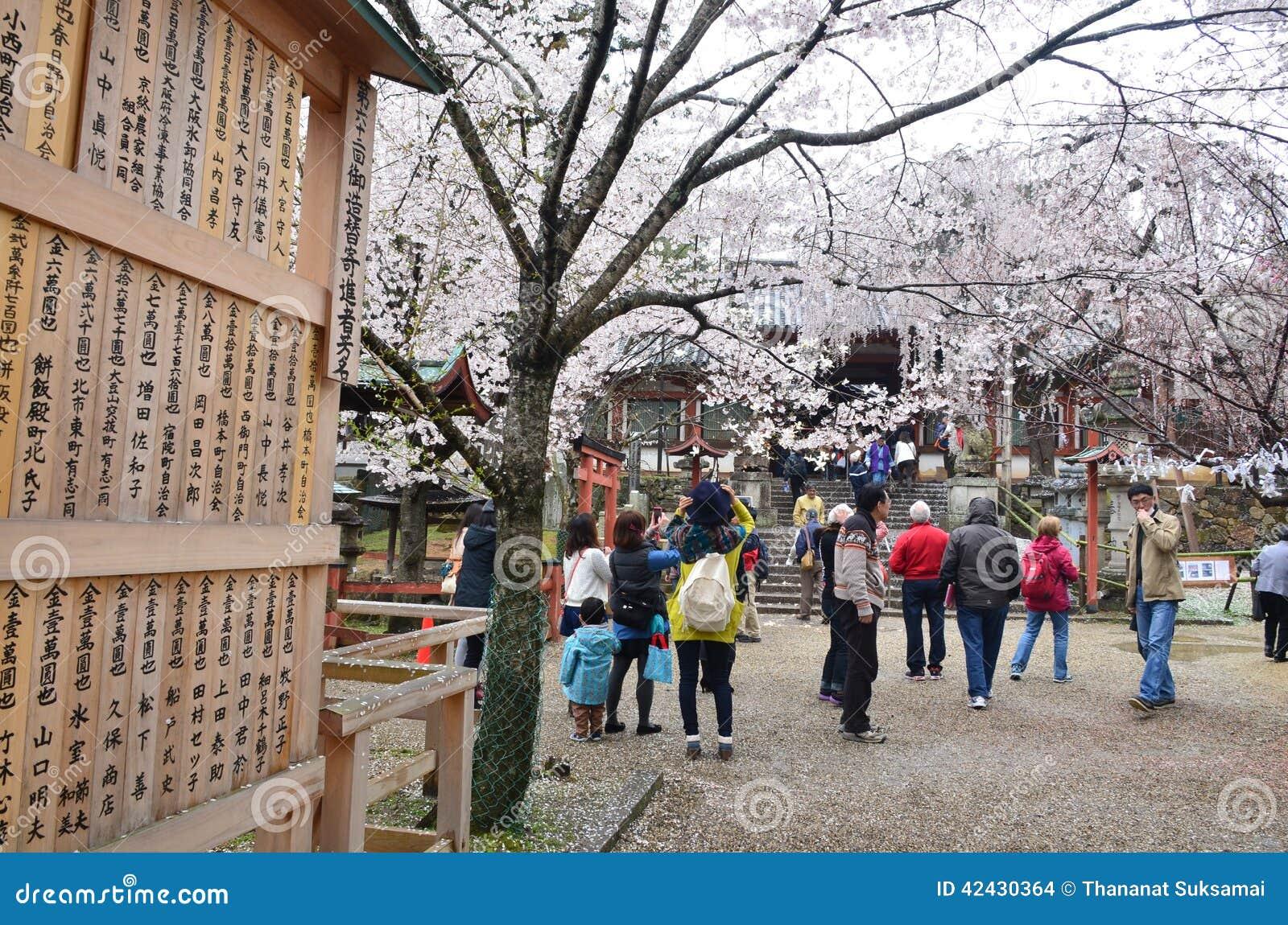 Gente en el templo de Kyoto