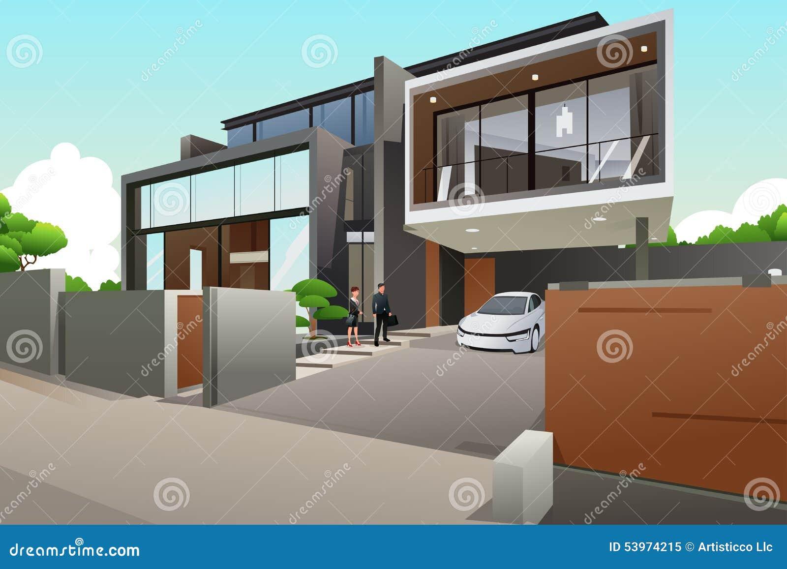 Gente en una casa moderna del estilo