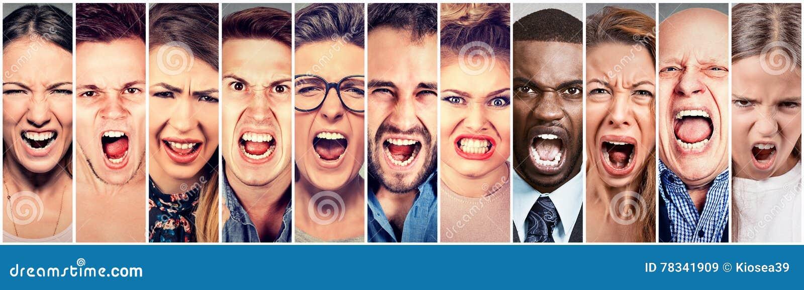 Gente enojada que grita Grupo de grito frustrado mujeres de los hombres