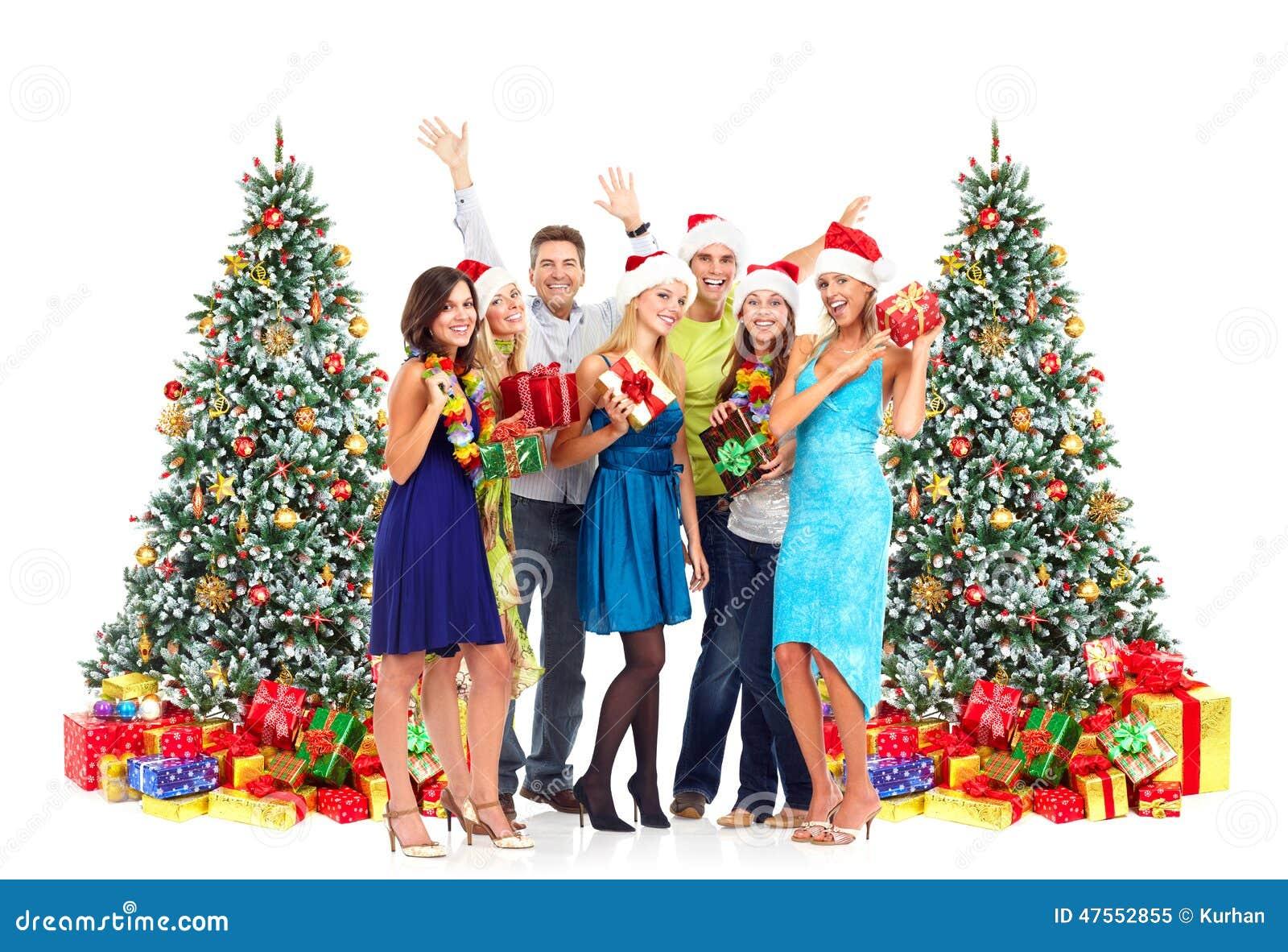 Gente Feliz En Navidad.Gente Feliz Con Los Regalos De La Navidad Imagen De Archivo