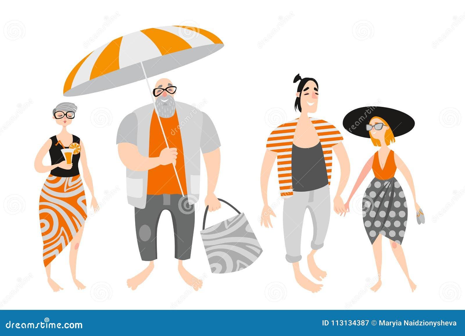 Gente feliz de la historieta en la playa Pares maduros y amantes jovenes
