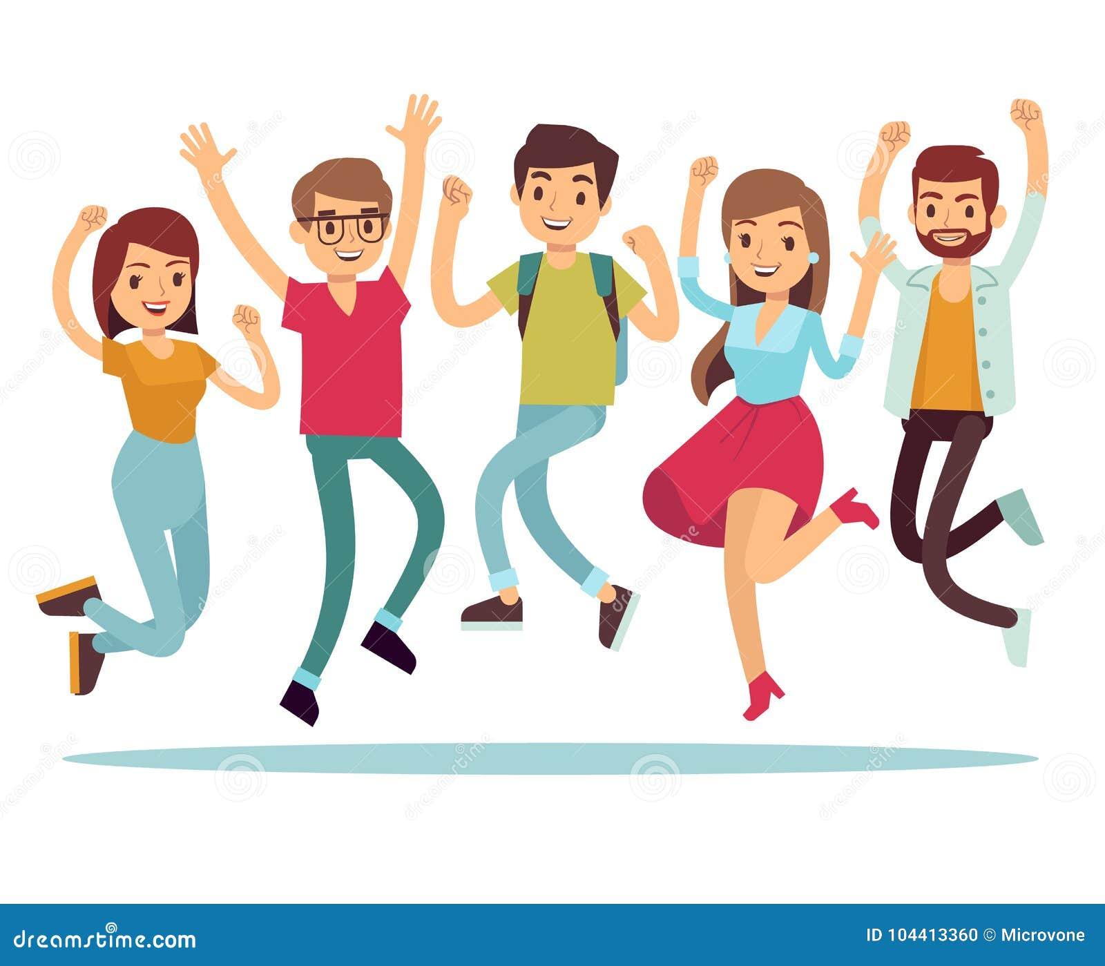 Gente feliz joven de salto en ropa casual Caracteres planos del vector fijados