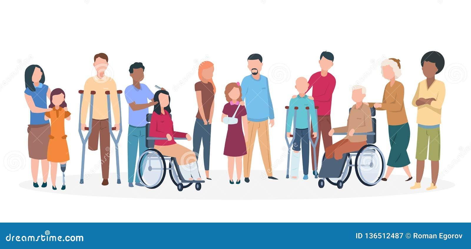 Gente handicappata La gente con la famiglia amichevole felice di inabilità Disattivi le persone di lesione con gli assistenti