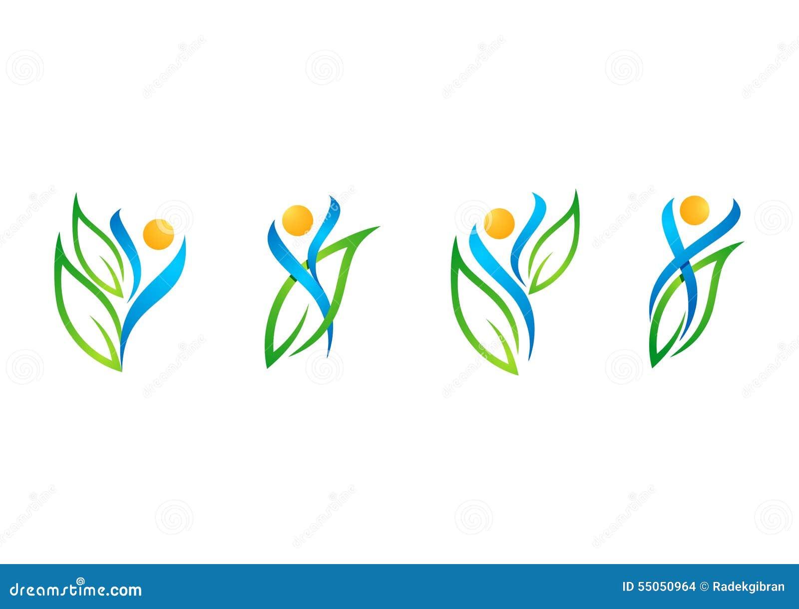 Gente, hoja, logotipo, salud, natural, salud, ecología, sistema del vector del diseño del icono del símbolo