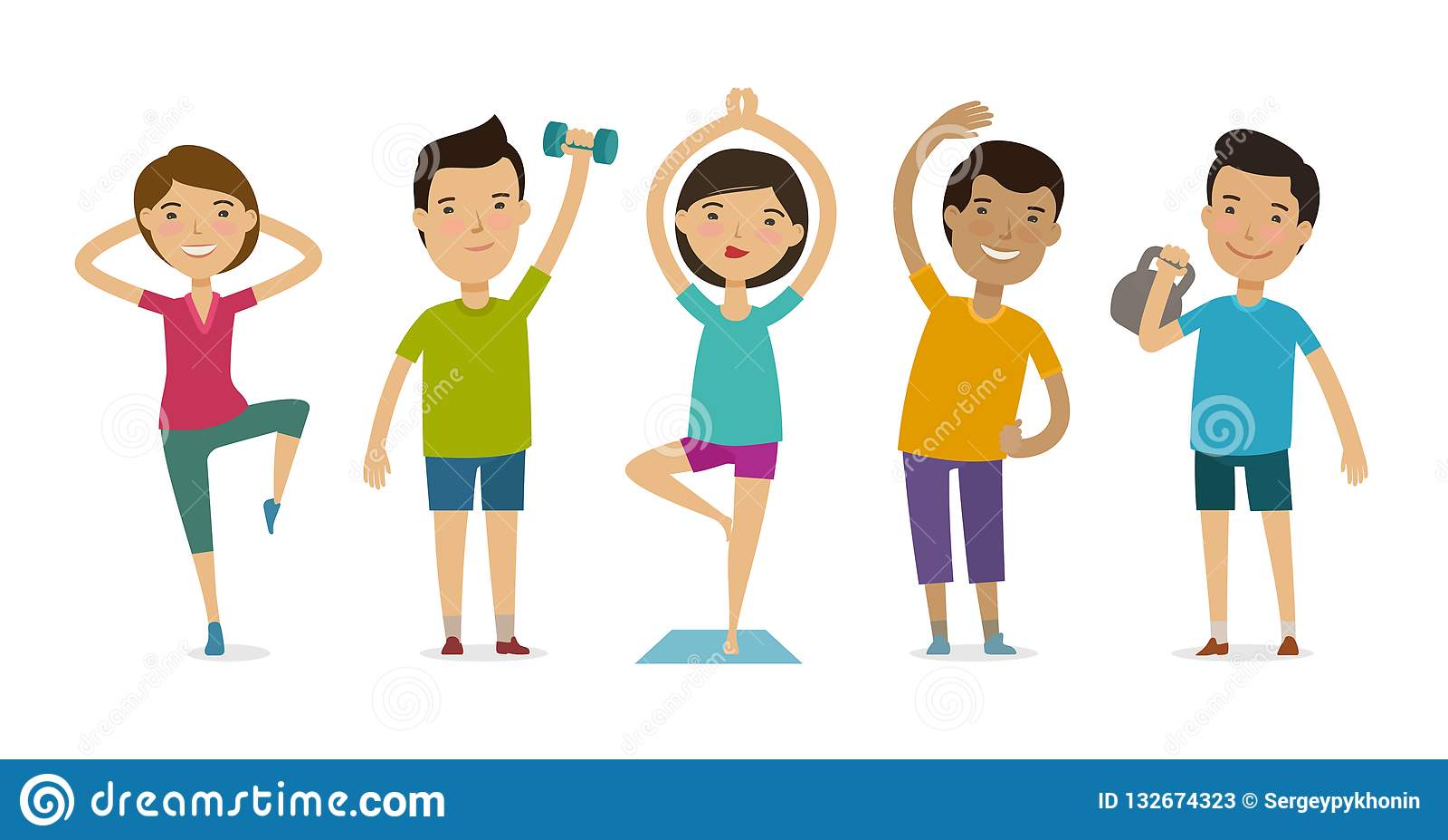 Gente implicada en deportes Aptitud, gimnasio, concepto sano de la forma de vida Ejemplo divertido del vector de la historieta