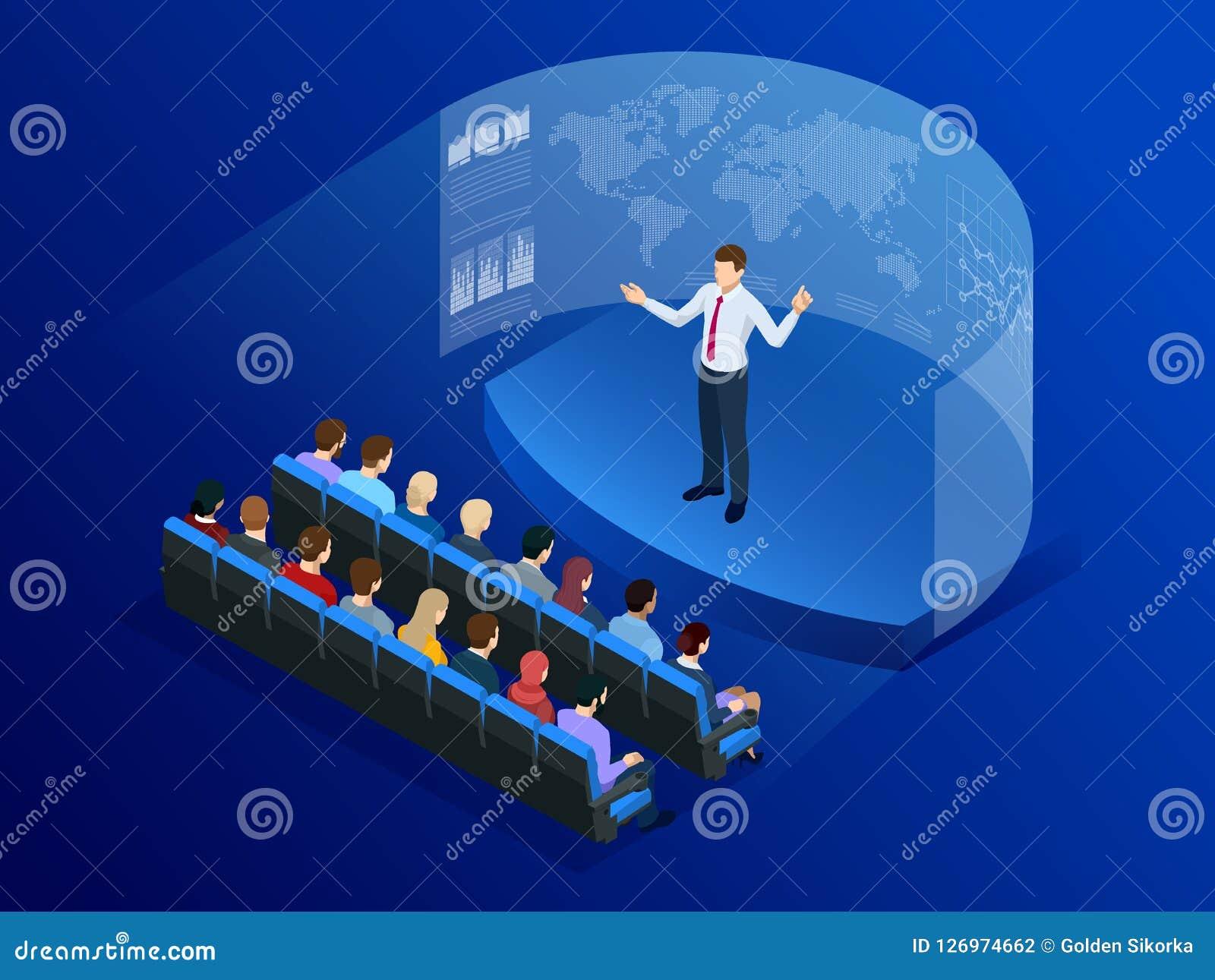 Gente isometrica davanti allo schermo per l affare di analisi dei dati Tecnologia della comunicazione di informazioni Digitahi