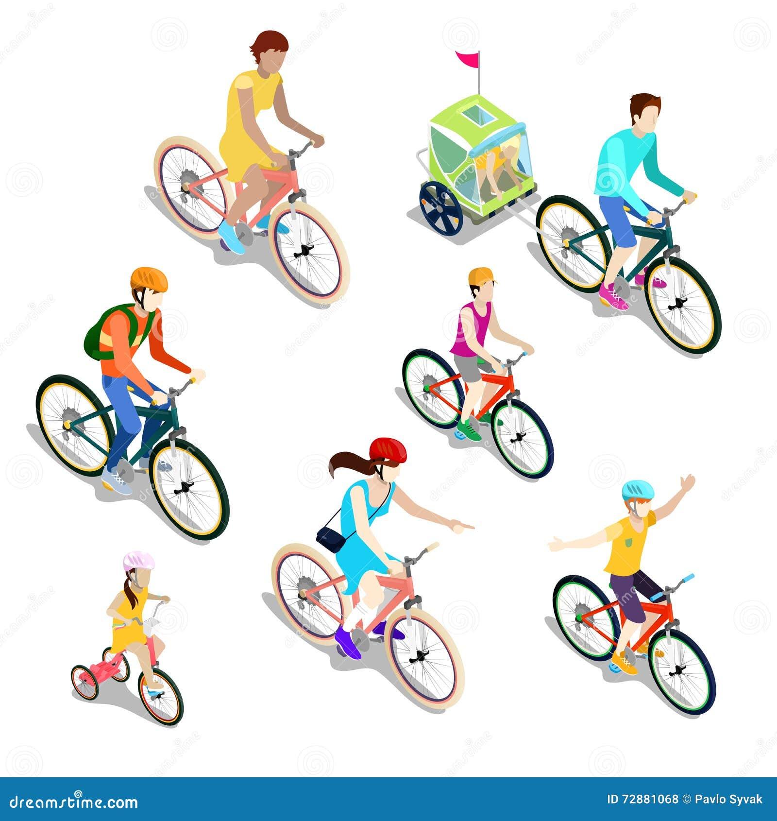 Gente isometrica sulle biciclette Ciclisti della famiglia