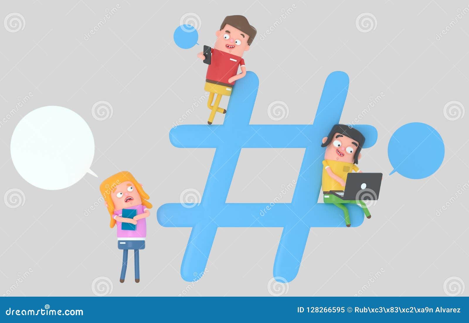 Gente joven sobre símbolo de Internet del hashtag ilustración 3D
