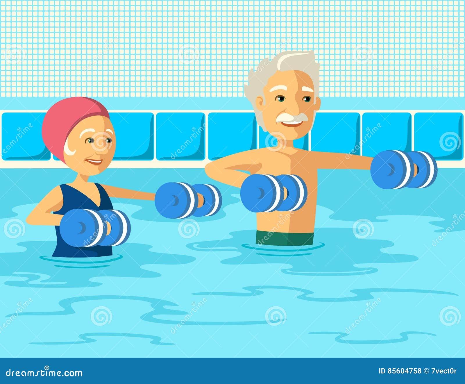 Gente madura que hace aeróbicos de la aguamarina con pesa de gimnasia de la espuma en piscina en el centro del ocio