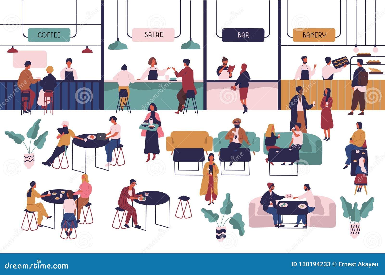 Gente minúscula que se sienta en las tablas en pasillo grande y la consumición y los vendedores que permanecen en los contadores