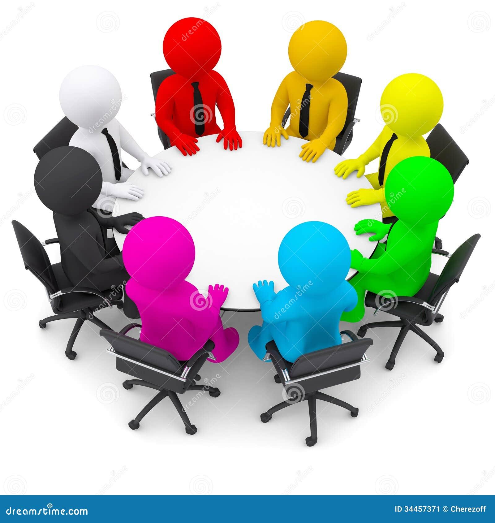 Gente multicolora que se sienta en una mesa redonda imagen - Que es mesa redonda ...