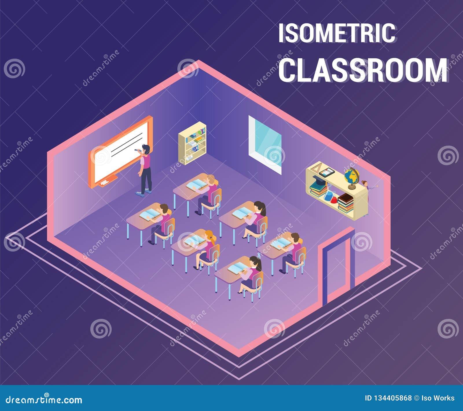 Gente que estudia en un cuarto de clase en donde el profesor les está enseñando a las ilustraciones isométricas