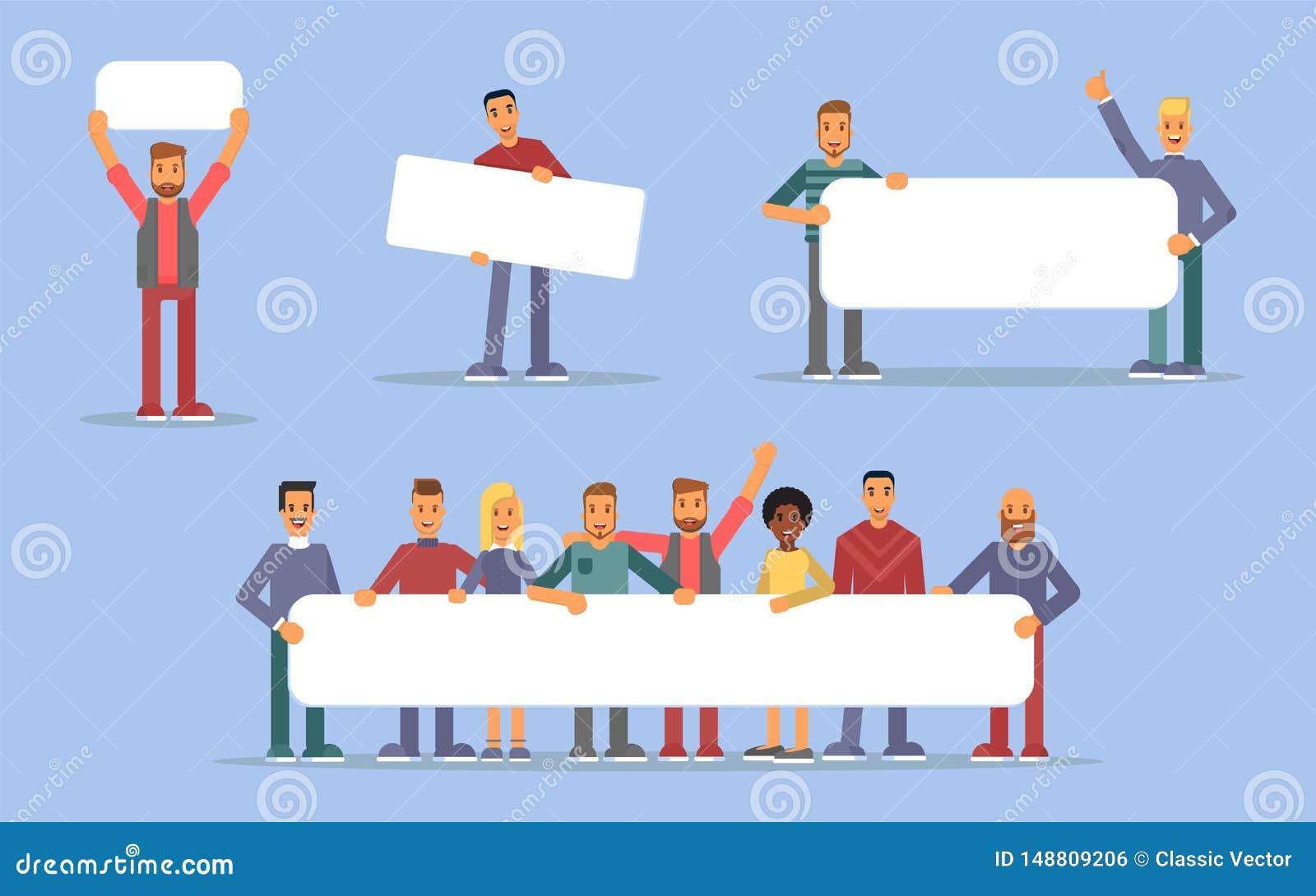 Gente que lleva a cabo el sistema plano de los ejemplos de los carteles