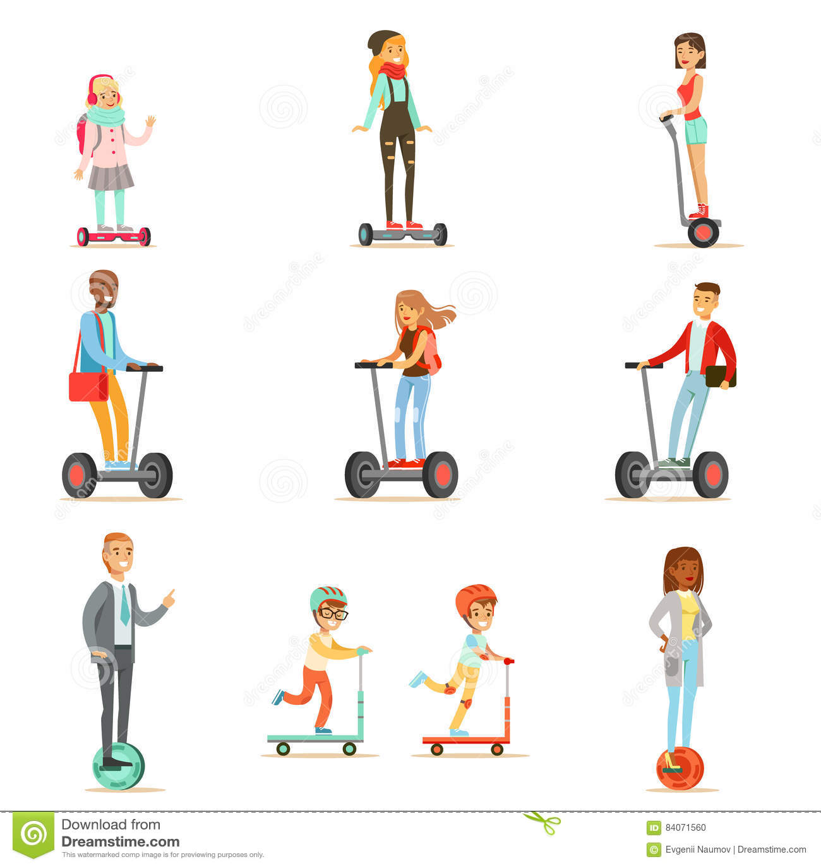 Gente que monta las vespas eléctricas personales con pilas de Uno mismo-equilibrio eléctricas con uno o dos ruedas, colección de