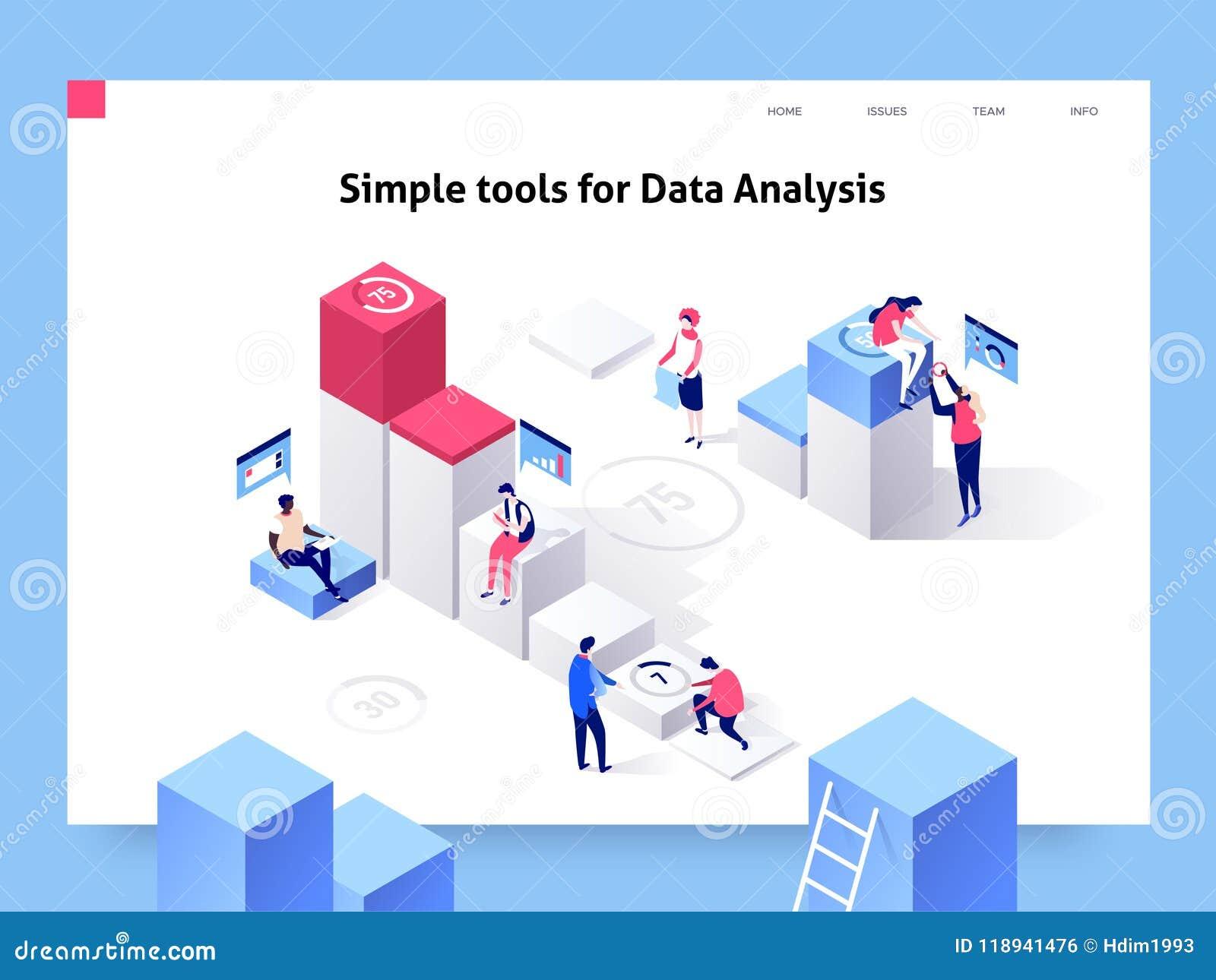 Gente que obra recíprocamente con las cartas y que analiza estadísticas y datos Plantilla de aterrizaje de la página ejemplo isom