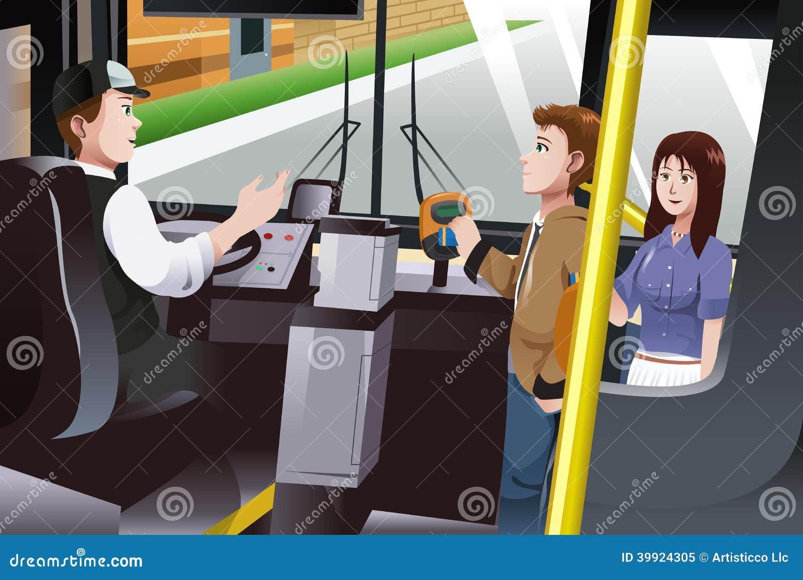Gente que paga precio de autobús
