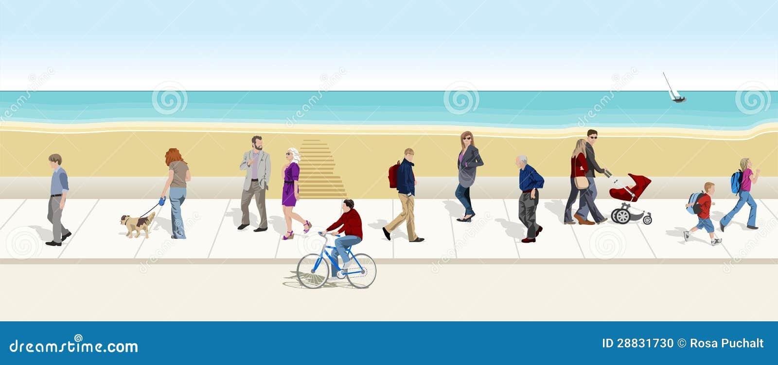 Gente que recorre a la parte inferior de mar