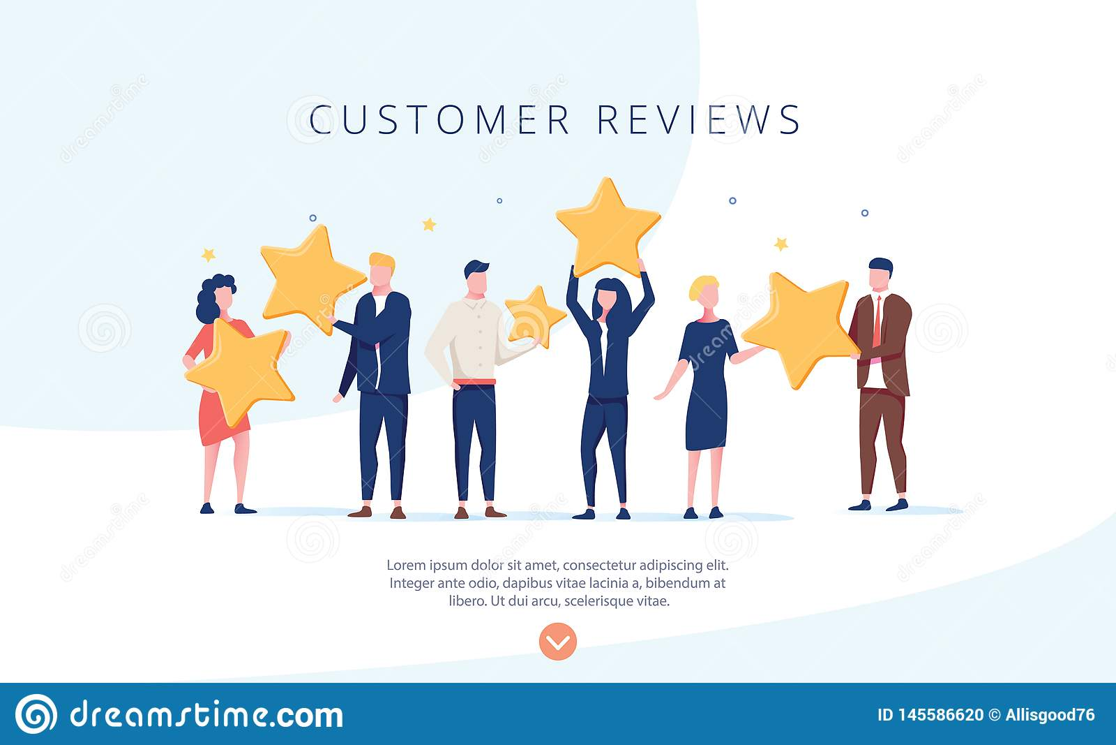 Gente que sostiene las estrellas El cliente revisa el ejemplo del concepto del ejemplo del concepto, perfecciona para el diseño w
