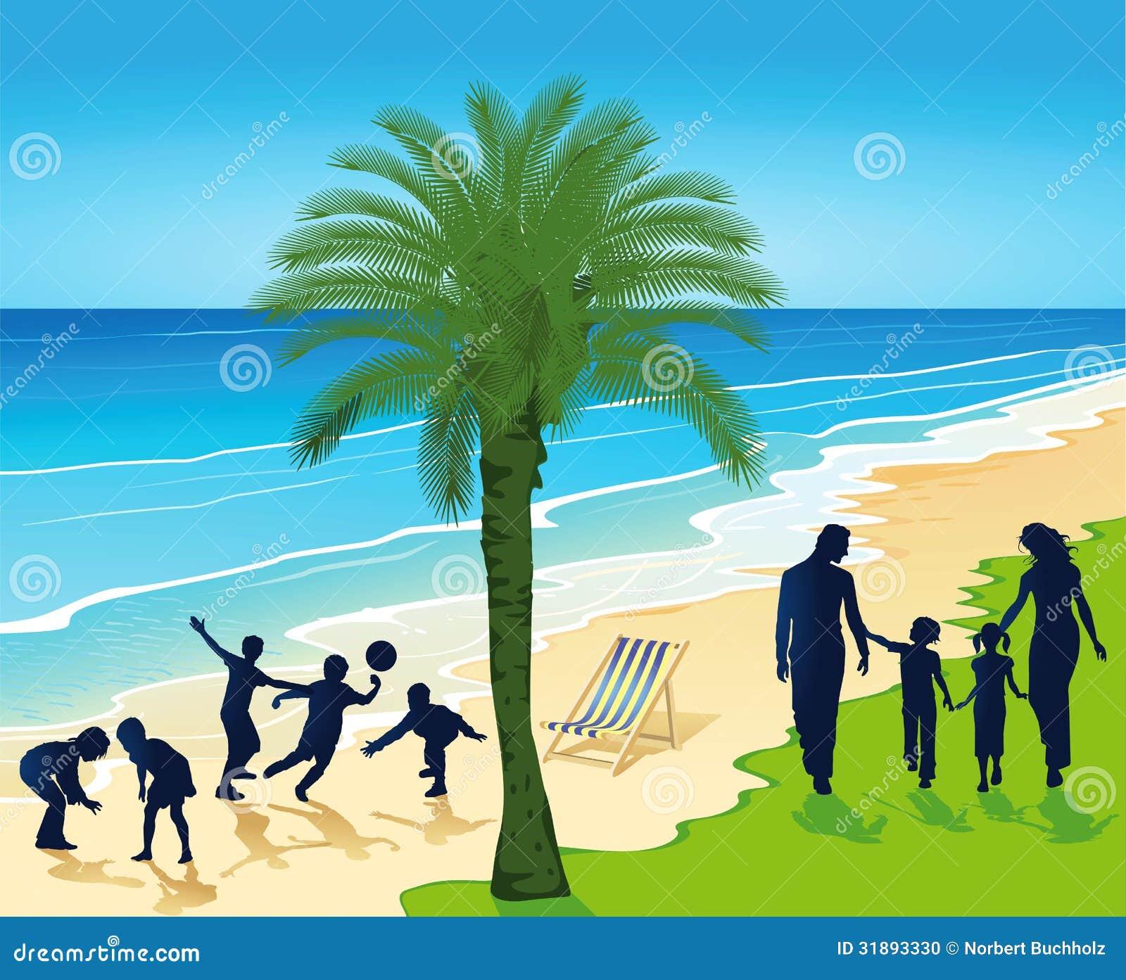 Gente silueteada en la playa tropical