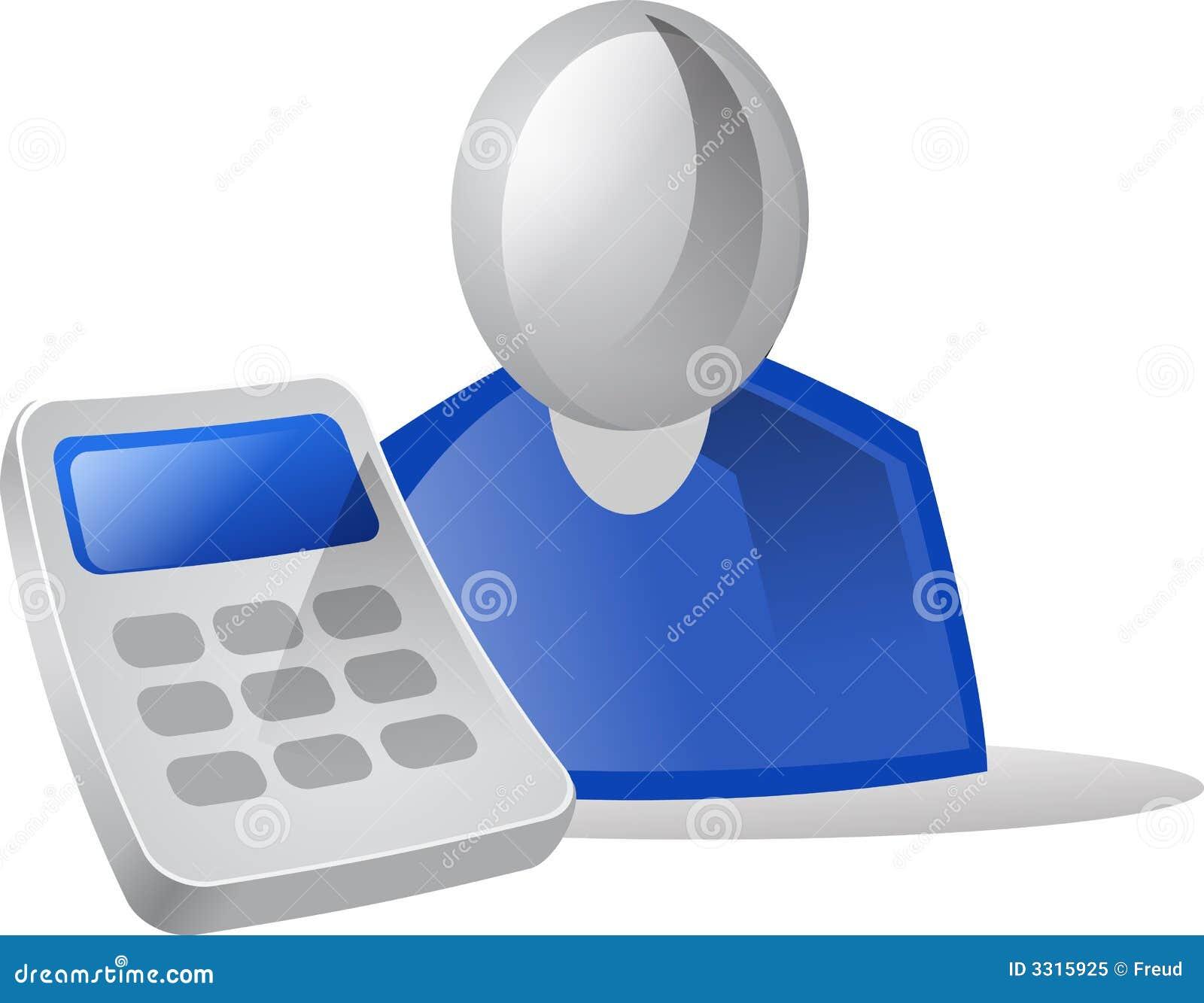 Gente y calculadora del icono