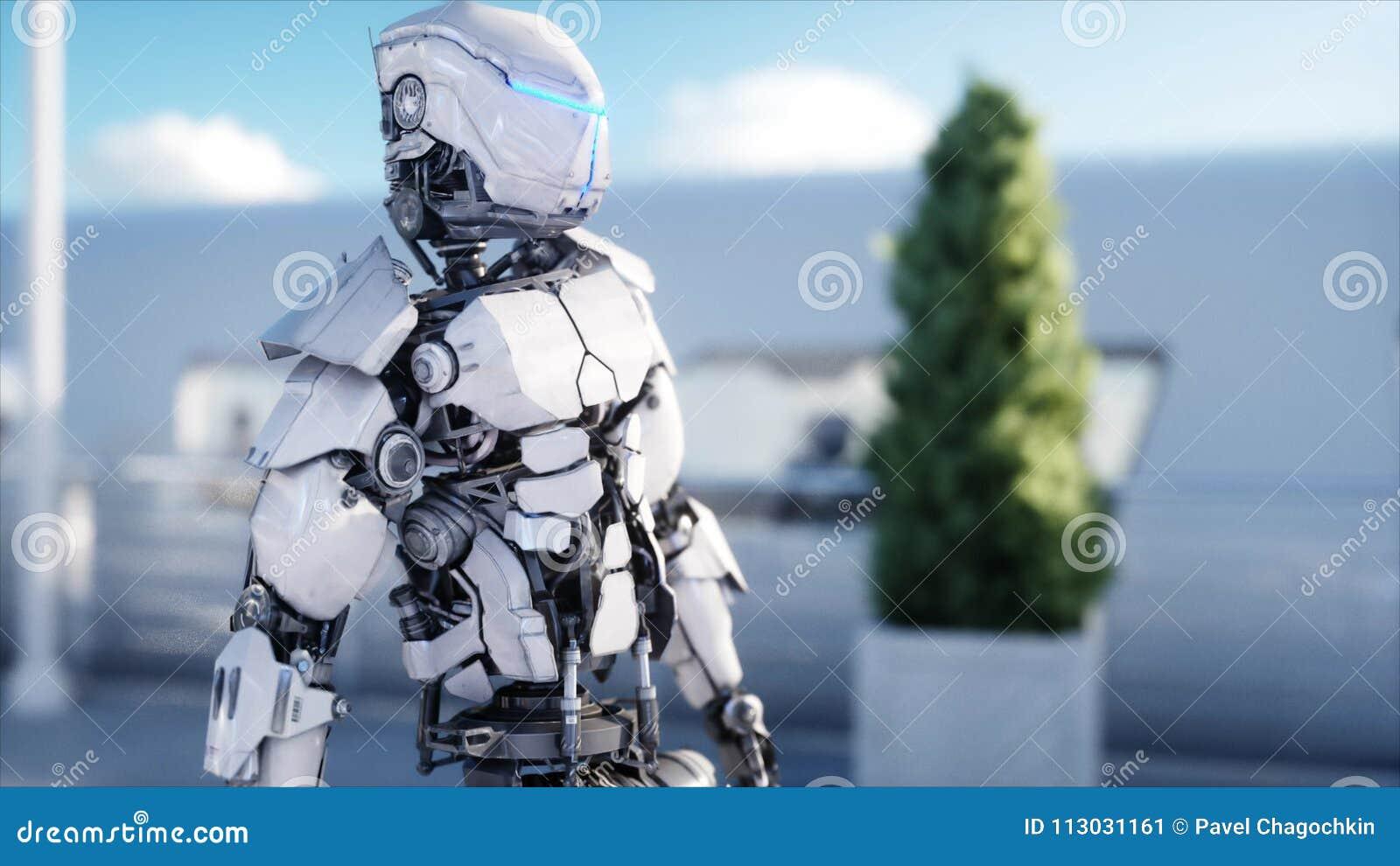 Gente y robots Estación de Sci fi Transporte futurista del monorrail Concepto de futuro representación 3d