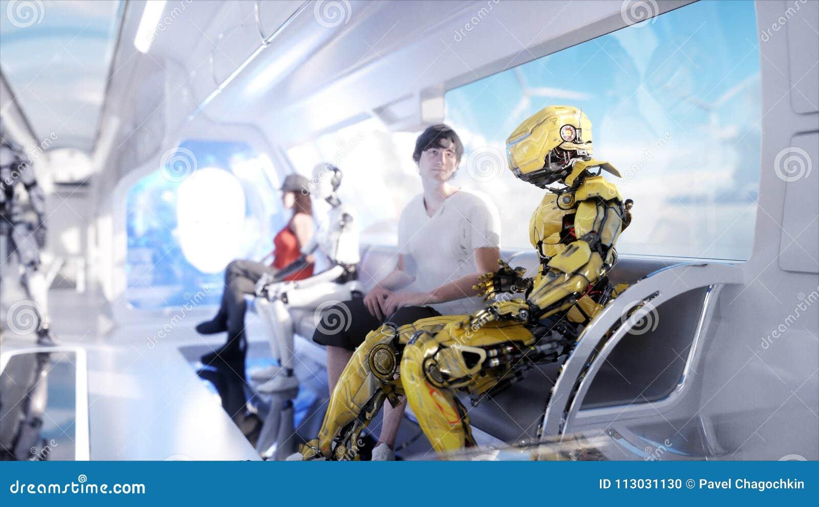 Gente y robots Transporte futurista del monorrail Concepto de futuro Animación realista 4K