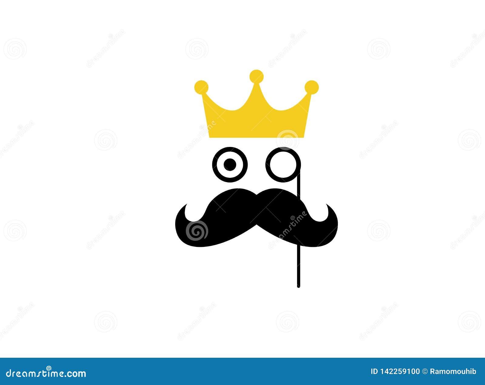 Gentelman prince crown mustache logo