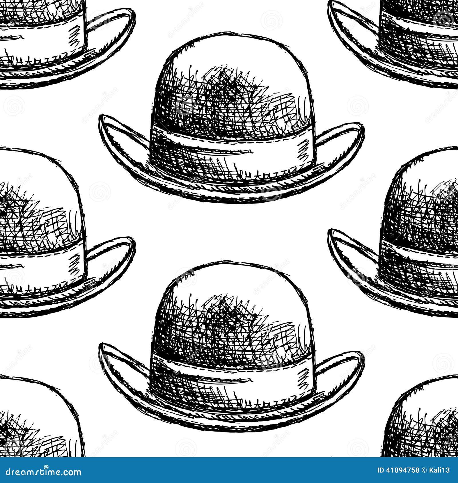 速写减速火箭的gentelmen帽子,传染媒介葡萄酒无缝的样式.图片