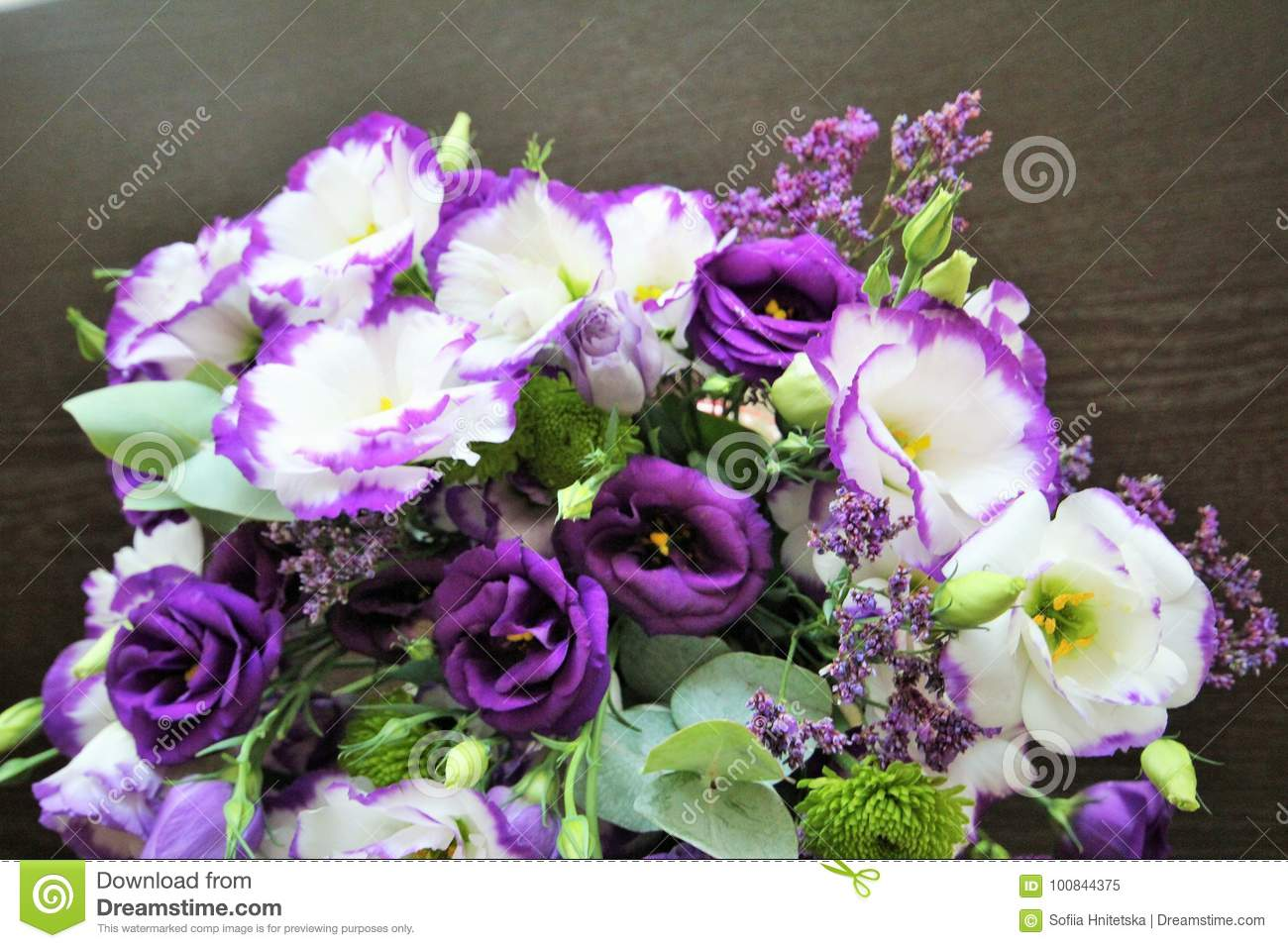 Beautiful Bouquet Of White And Purple Flowers Delicate Eustoma