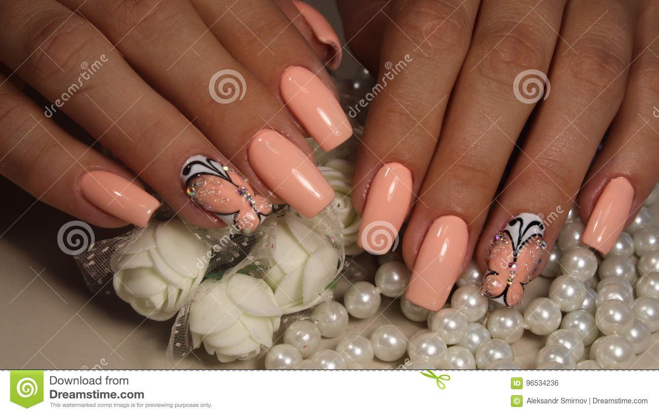 Delicate Manicure Design Nail Polish Gel Stock Photo Image Of