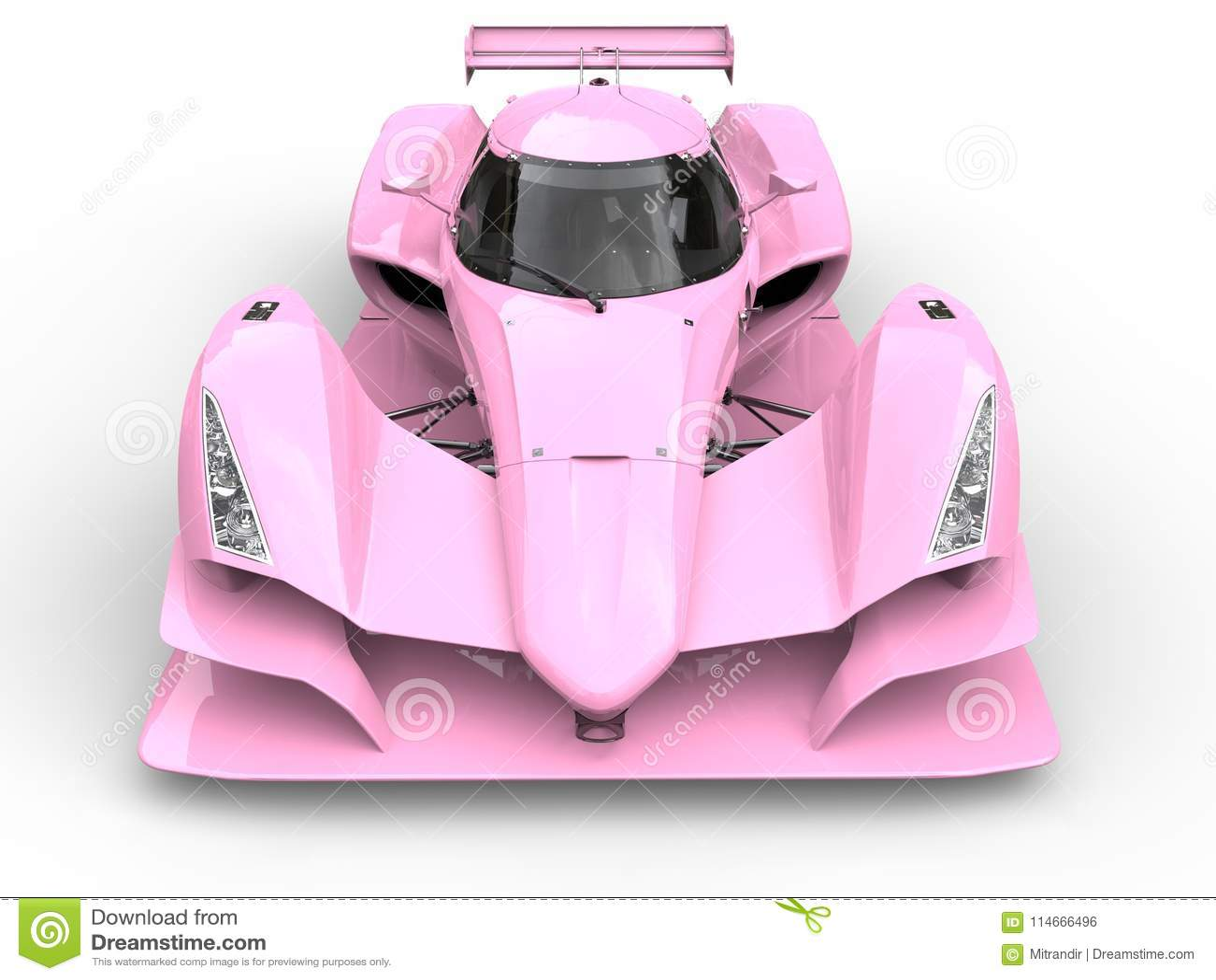 Gentle pink super sports race car - front view closeup shot