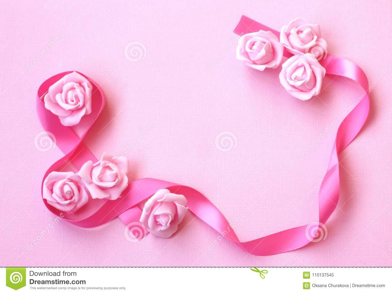 Gentle Spring Background With Pink Silk Ribbon Rose Flowers Stock