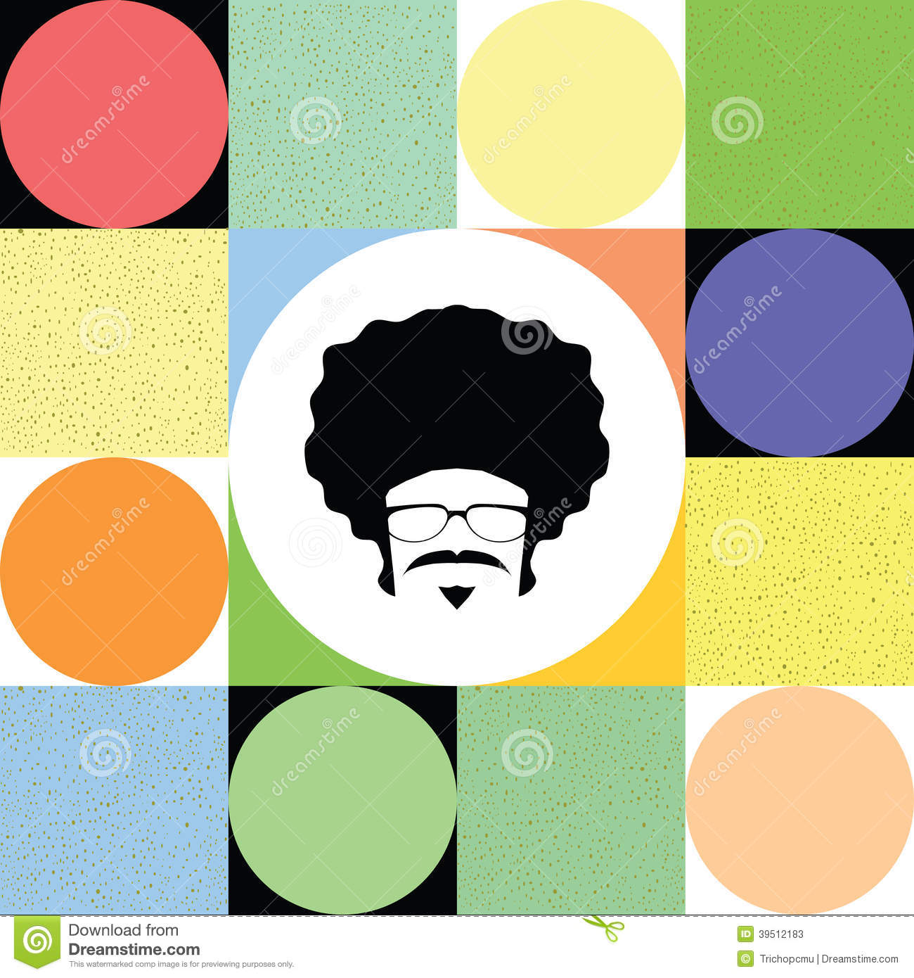 Afro man on colorful retro background